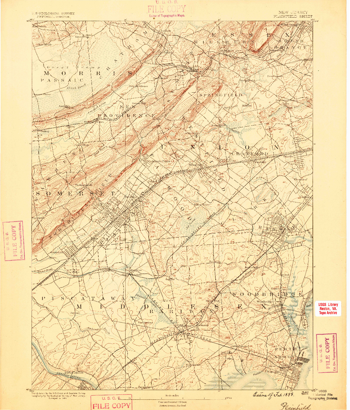 USGS 1:62500-SCALE QUADRANGLE FOR PLAINFIELD, NJ 1888