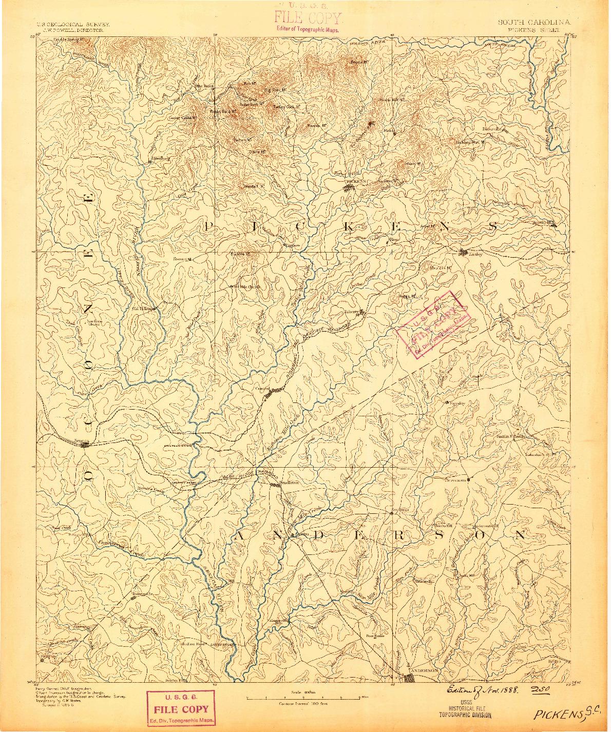USGS 1:125000-SCALE QUADRANGLE FOR PICKENS, SC 1888