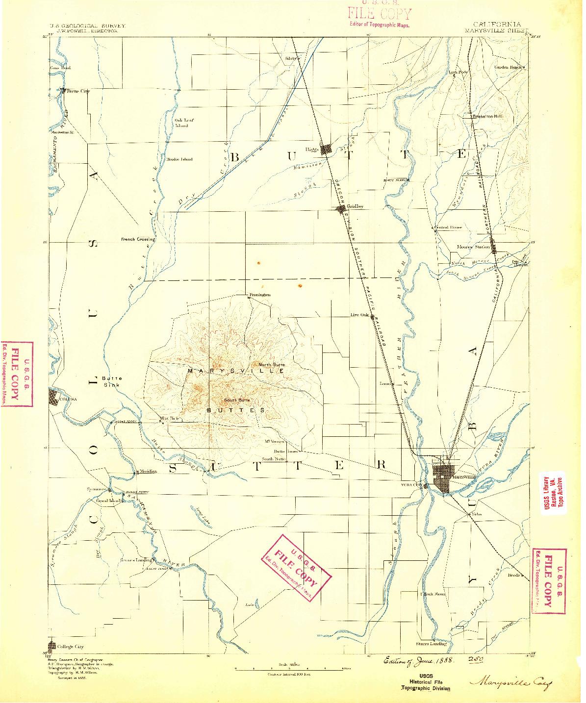 USGS 1:125000-SCALE QUADRANGLE FOR MARYSVILLE, CA 1888