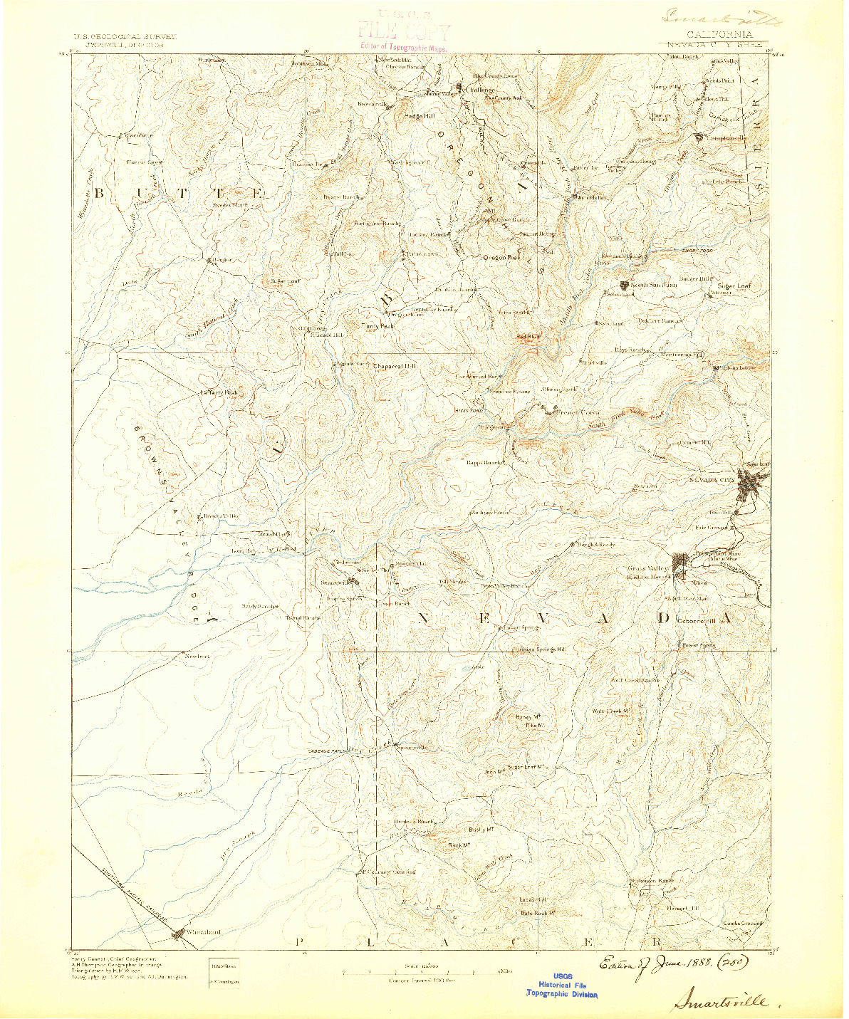 USGS 1:125000-SCALE QUADRANGLE FOR SMARTSVILLE, CA 1888