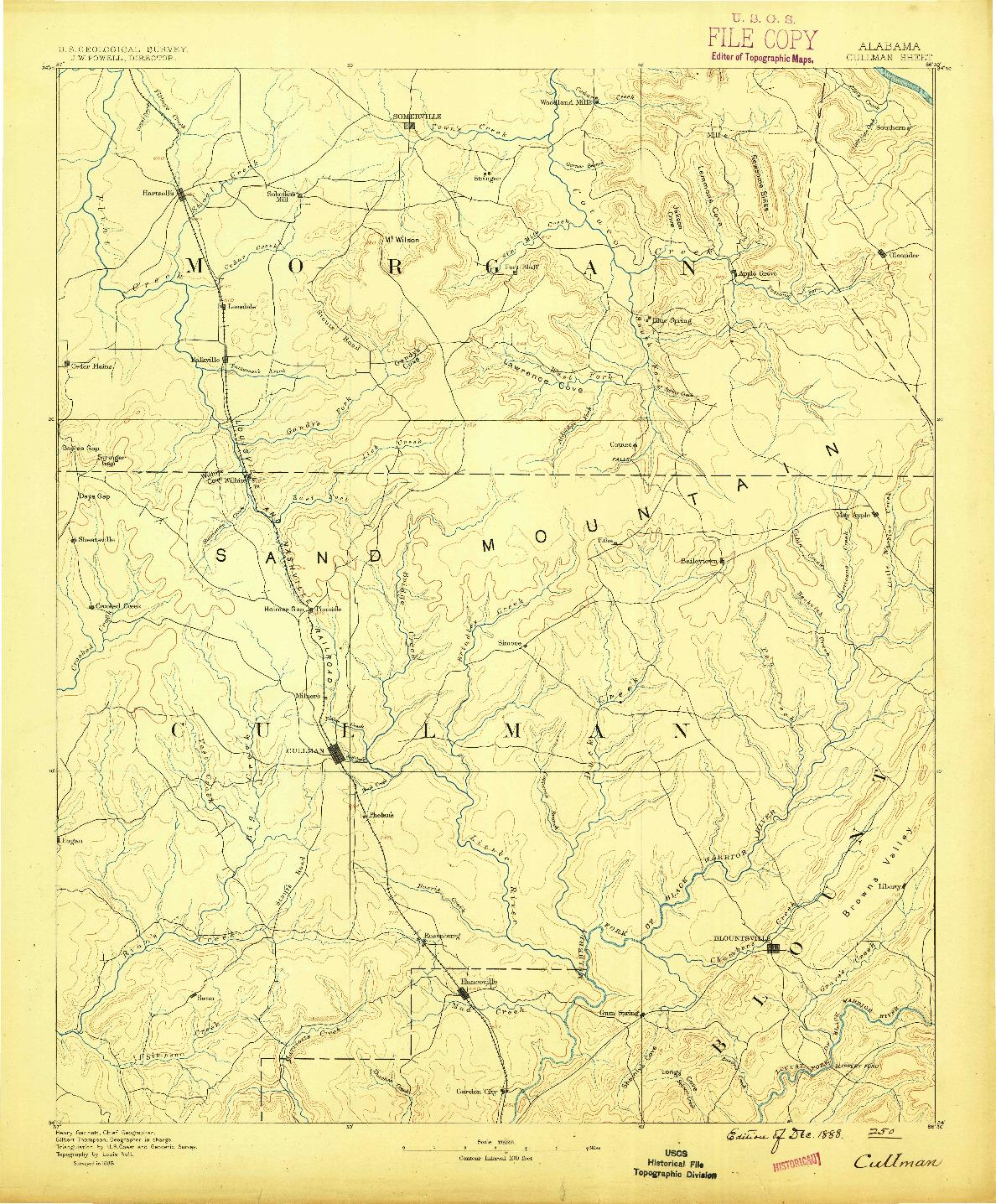 USGS 1:125000-SCALE QUADRANGLE FOR CULLMAN, AL 1888