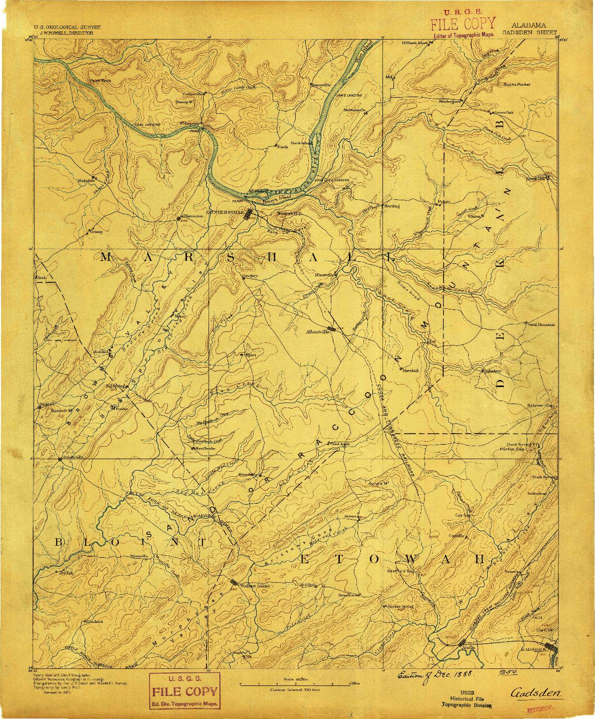 USGS 1:125000-SCALE QUADRANGLE FOR GADSDEN, AL 1888