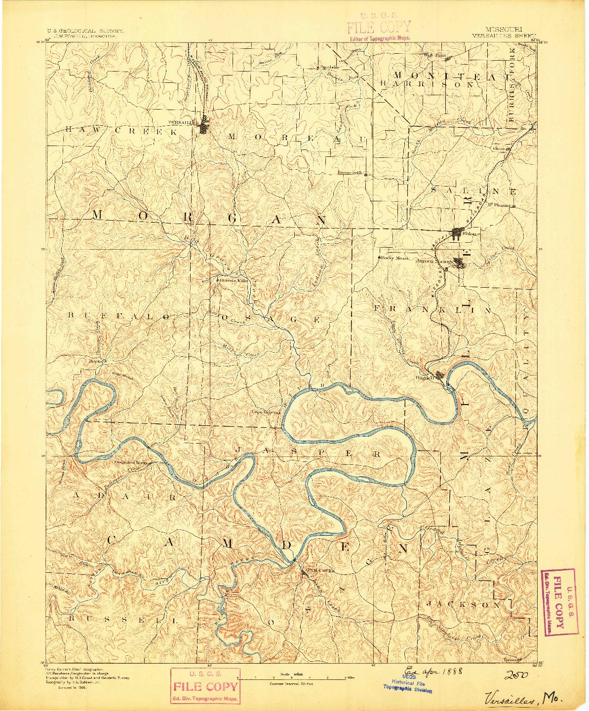 USGS 1:125000-SCALE QUADRANGLE FOR VERSAILLES, MO 1888