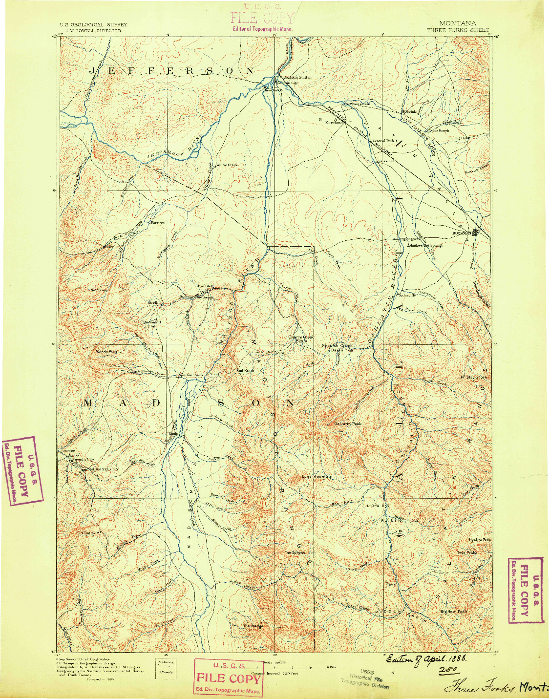 USGS 1:250000-SCALE QUADRANGLE FOR THREE FORKS, MT 1888