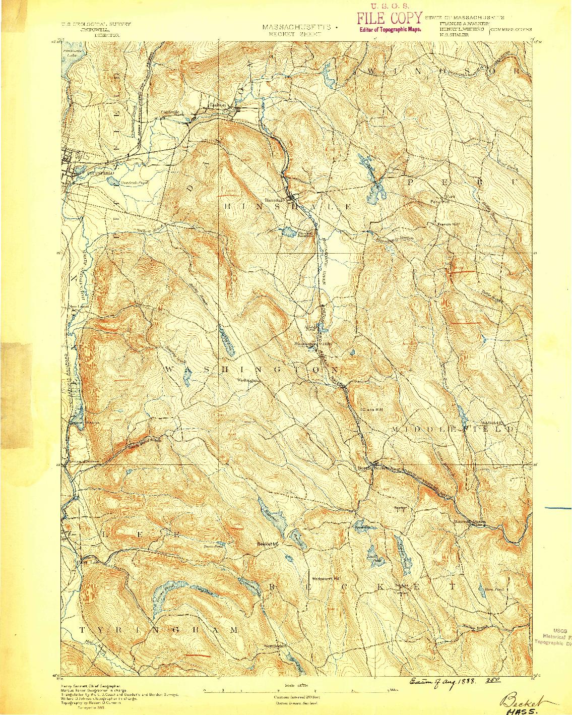 USGS 1:62500-SCALE QUADRANGLE FOR BECKET, MA 1888