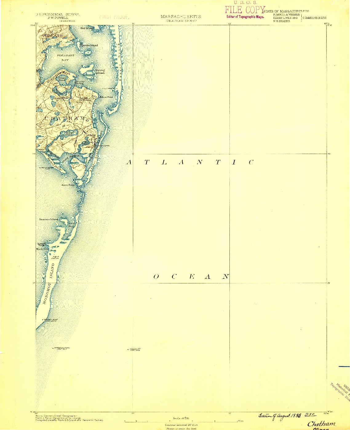 USGS 1:62500-SCALE QUADRANGLE FOR CHATHAM, MA 1888