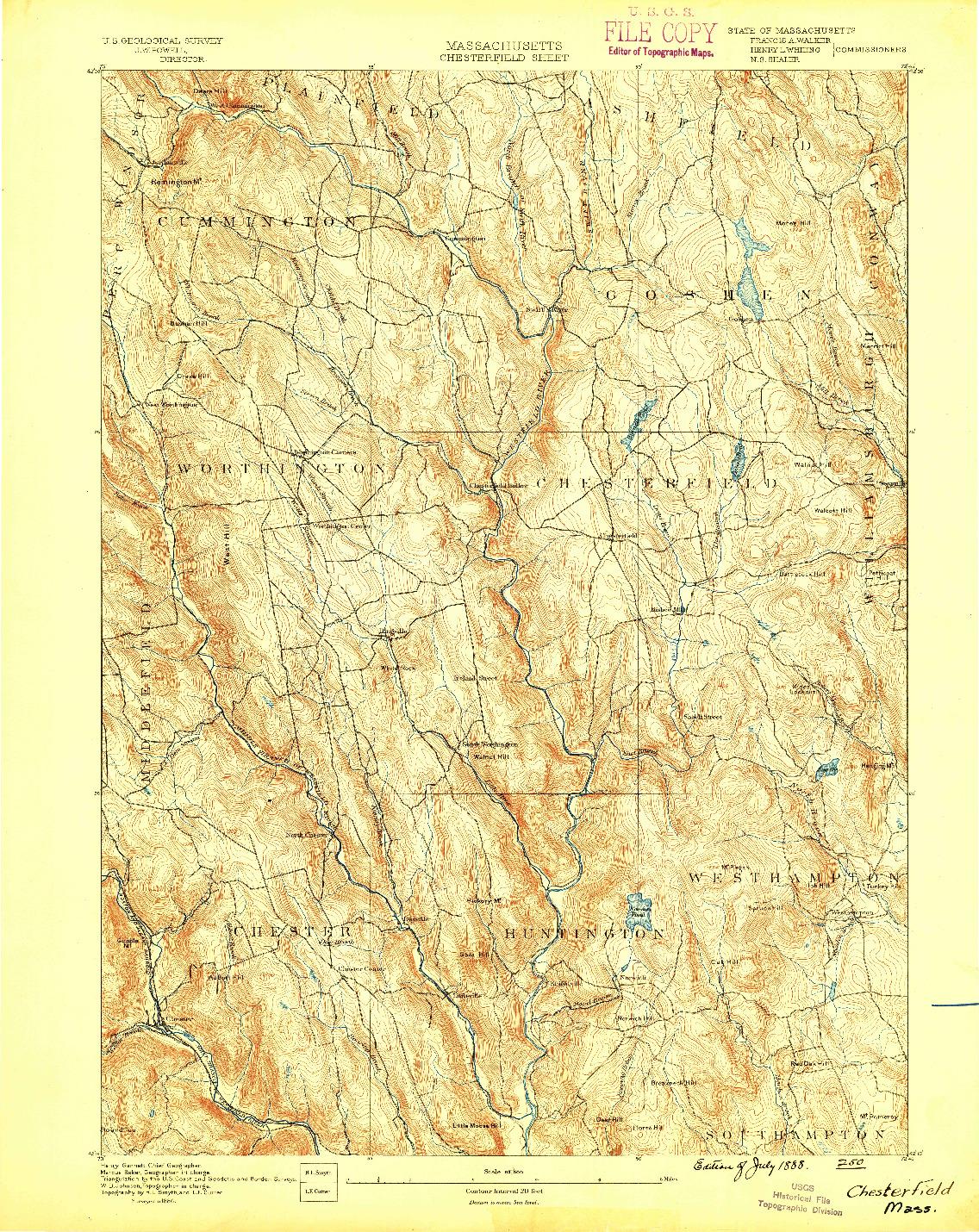 USGS 1:62500-SCALE QUADRANGLE FOR CHESTERFIELD, MA 1888