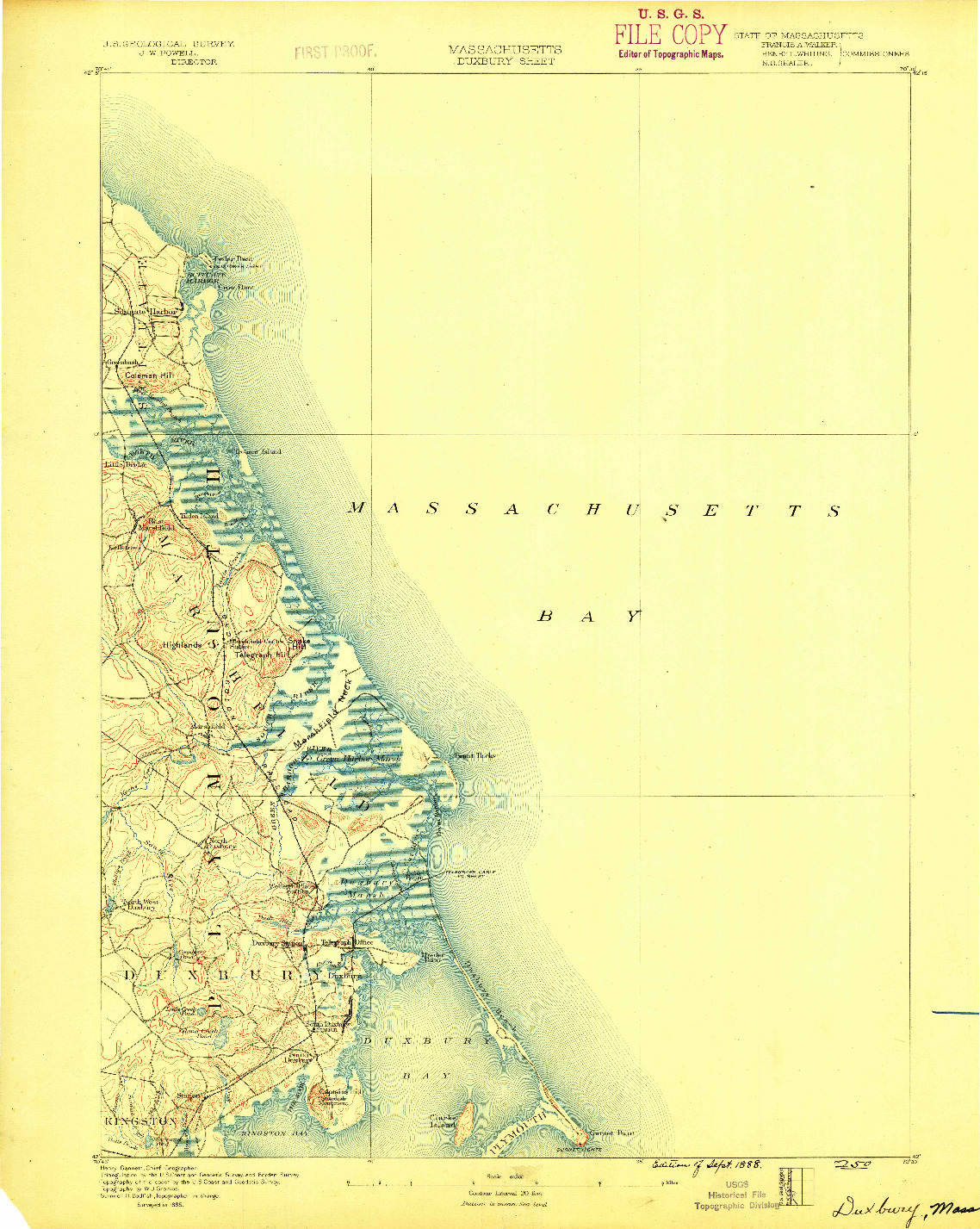 USGS 1:62500-SCALE QUADRANGLE FOR DUXBURY, MA 1888