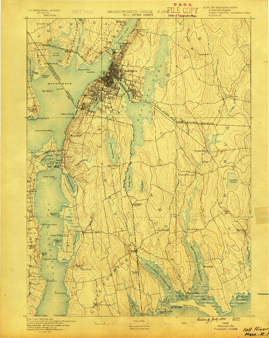 USGS 1:62500-SCALE QUADRANGLE FOR FALL RIVER, MA 1888