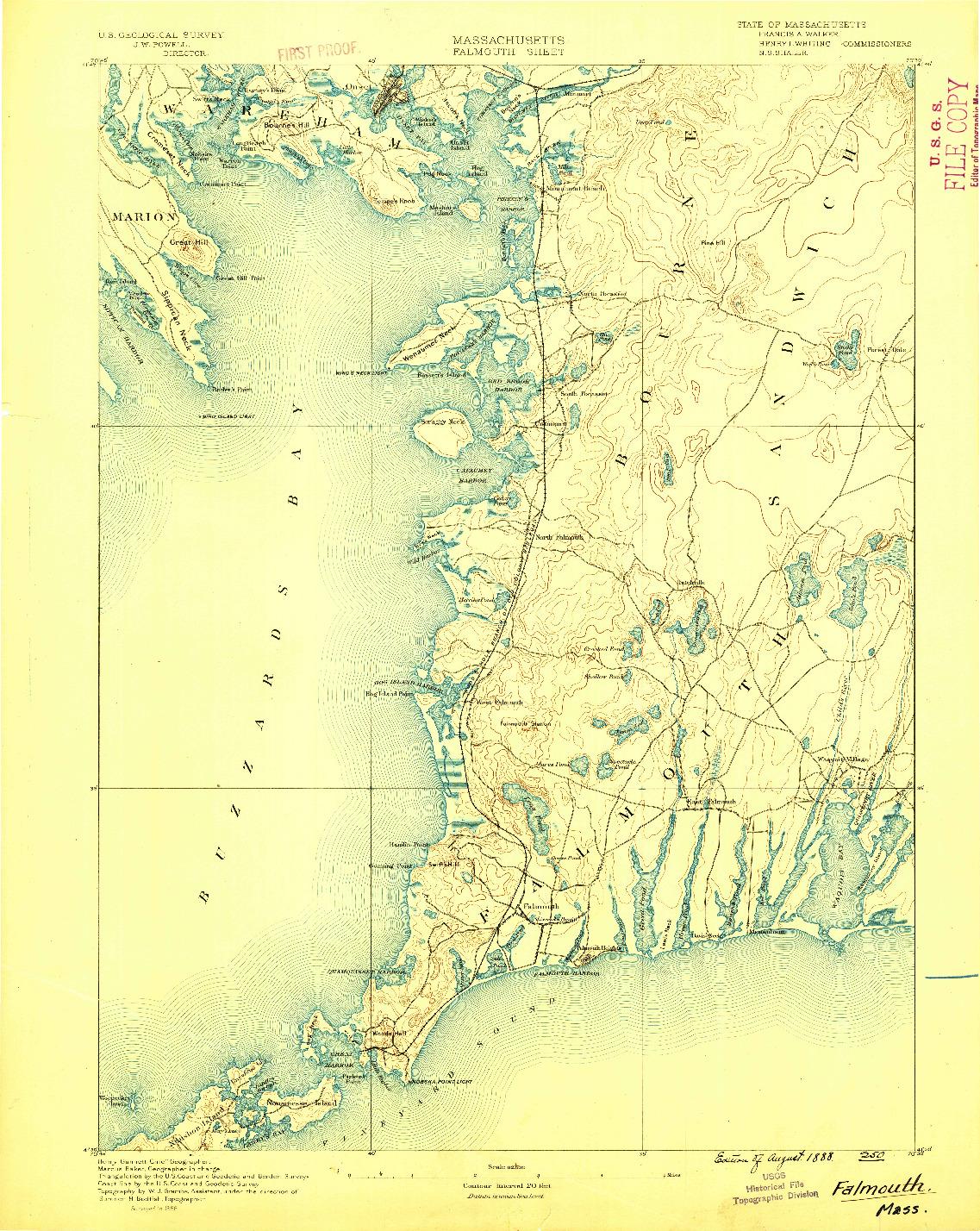 USGS 1:62500-SCALE QUADRANGLE FOR FALMOUTH, MA 1888