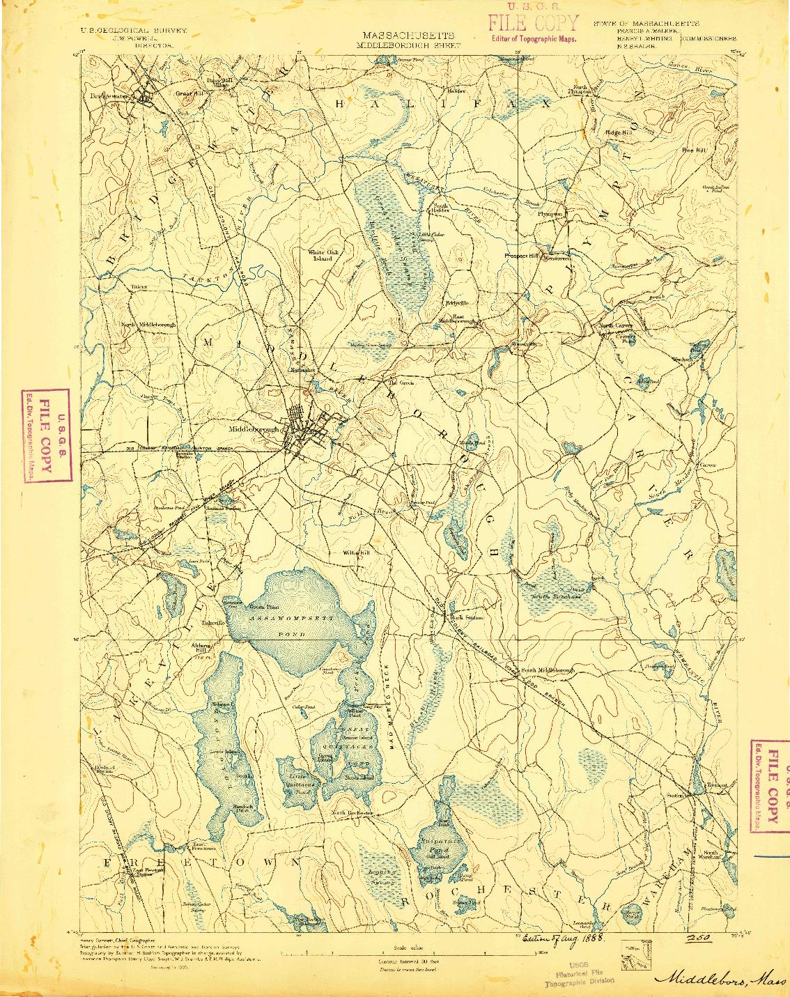 USGS 1:62500-SCALE QUADRANGLE FOR MIDDLEBORO, MA 1888