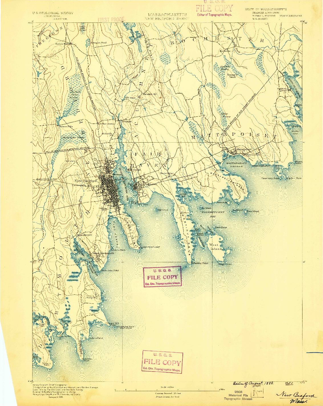 USGS 1:62500-SCALE QUADRANGLE FOR NEW BEDFORD, MA 1888