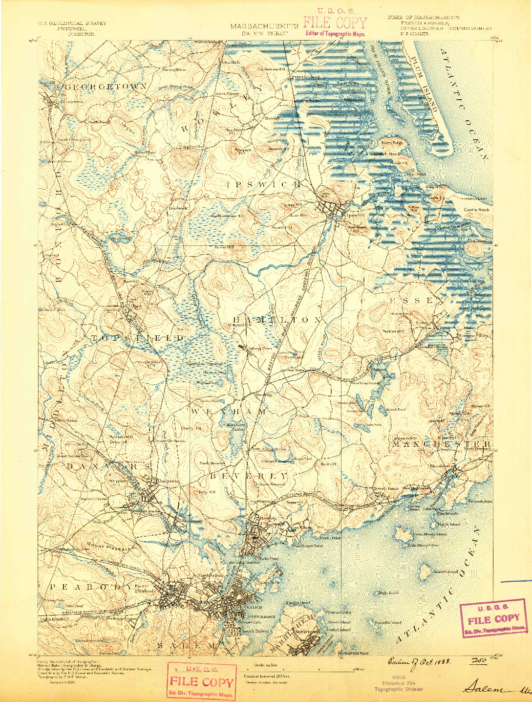 USGS 1:62500-SCALE QUADRANGLE FOR SALEM, MA 1888