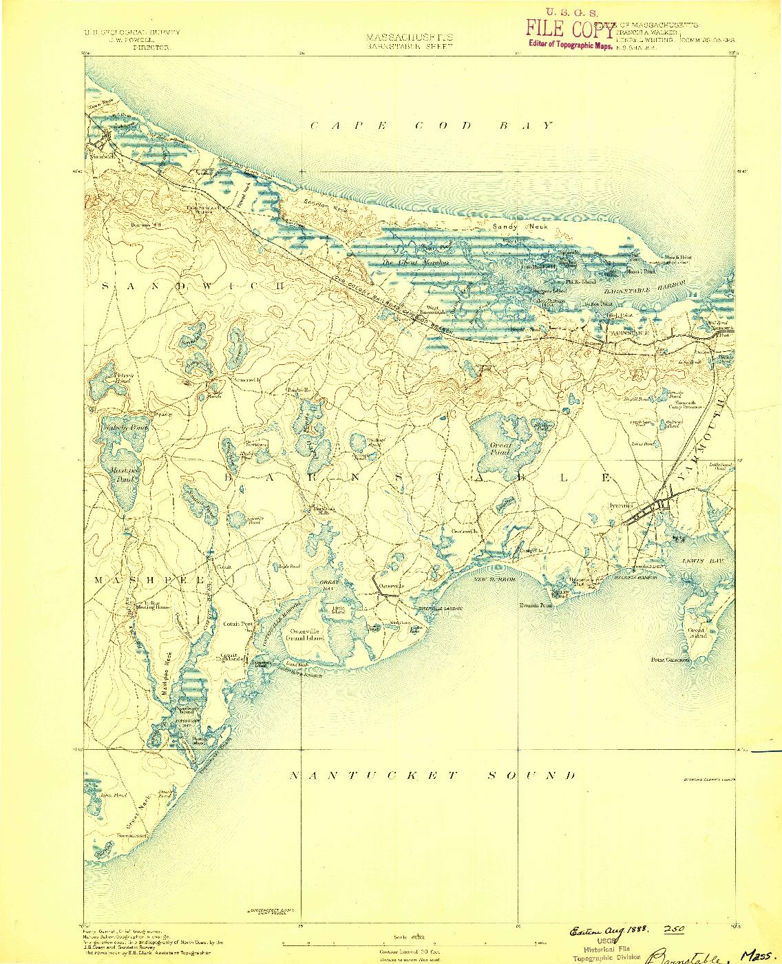 USGS 1:62500-SCALE QUADRANGLE FOR BARNSTABLE, MA 1888