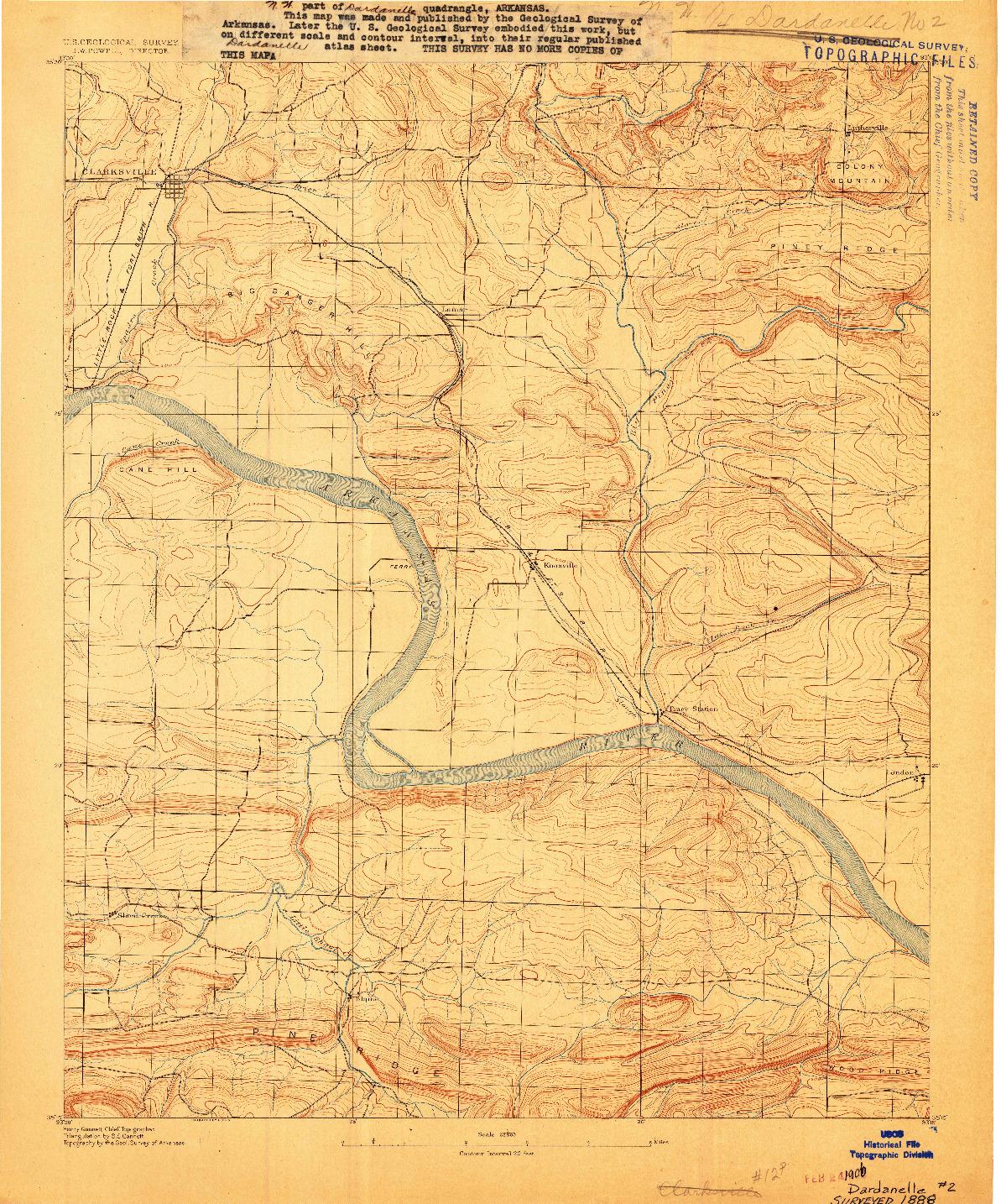 USGS 1:62500-SCALE QUADRANGLE FOR DARDANELLE #2, AR 1888