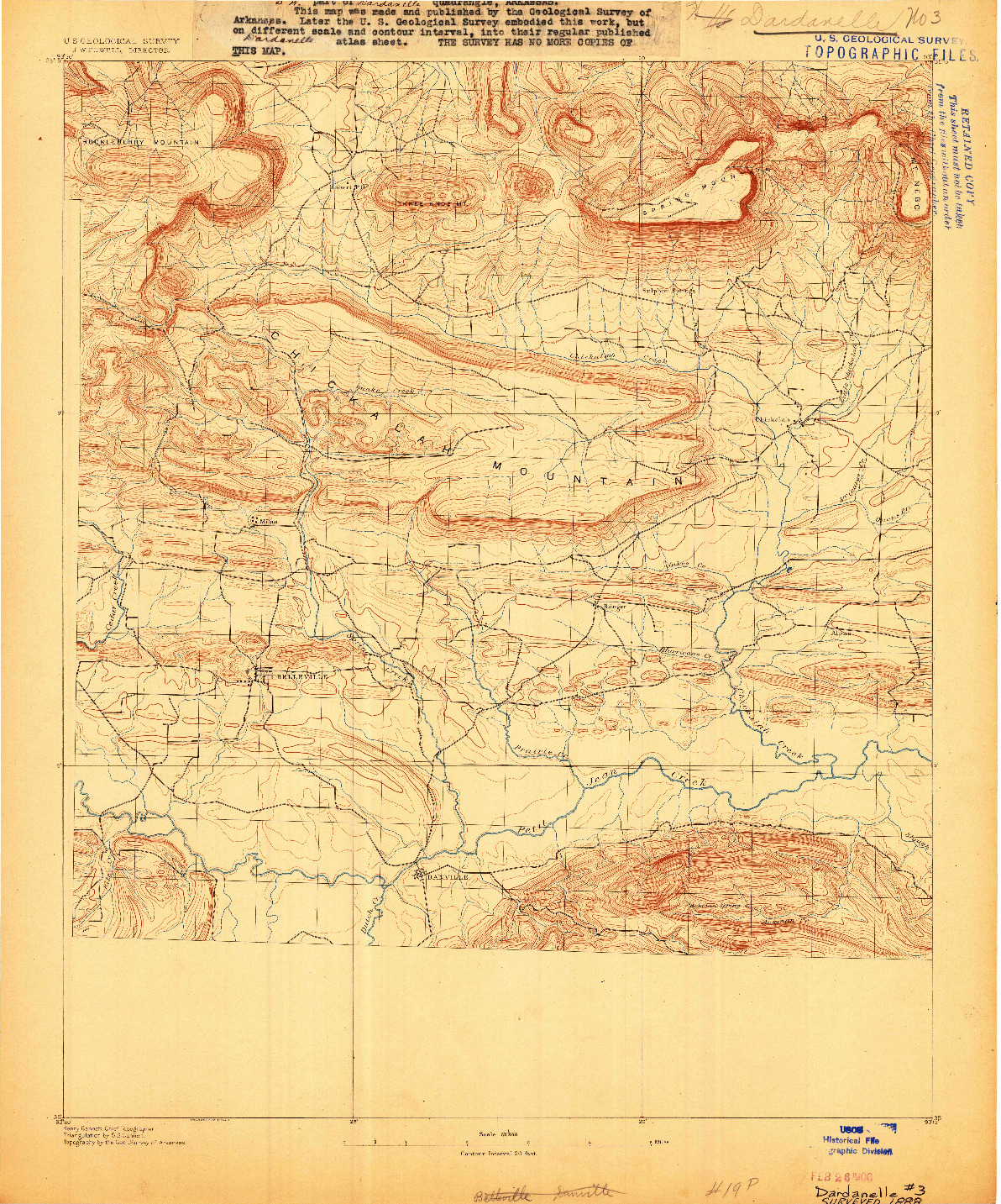 USGS 1:62500-SCALE QUADRANGLE FOR DARDANELLE #3, AR 1888