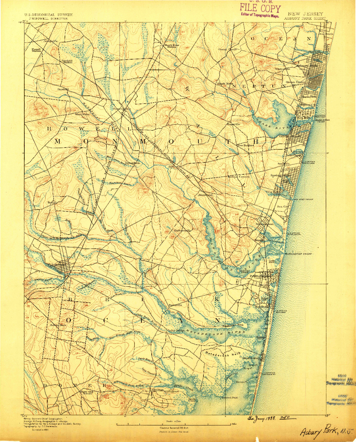 USGS 1:62500-SCALE QUADRANGLE FOR ASBURY PARK, NJ 1888
