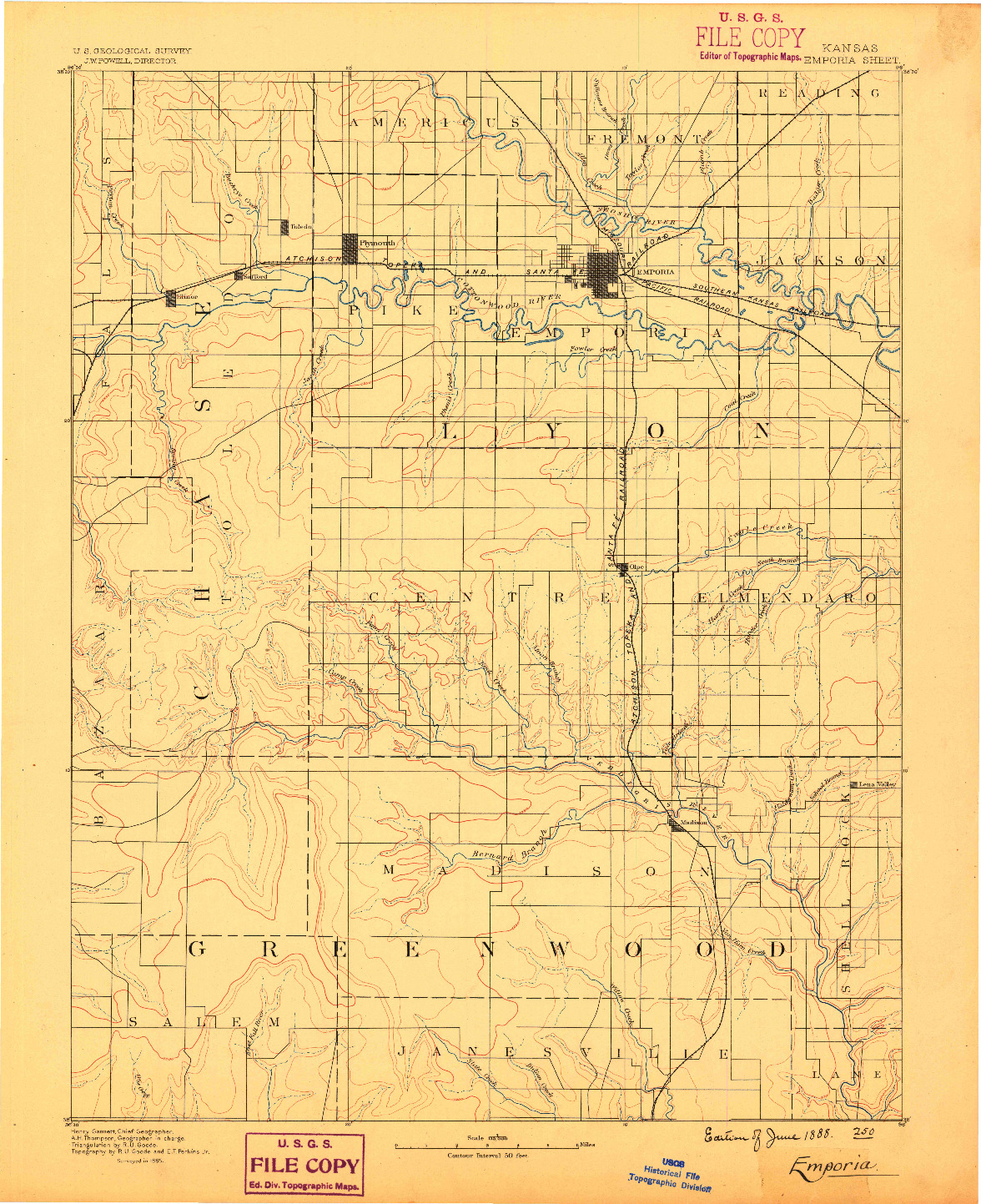 USGS 1:125000-SCALE QUADRANGLE FOR EMPORIA, KS 1888