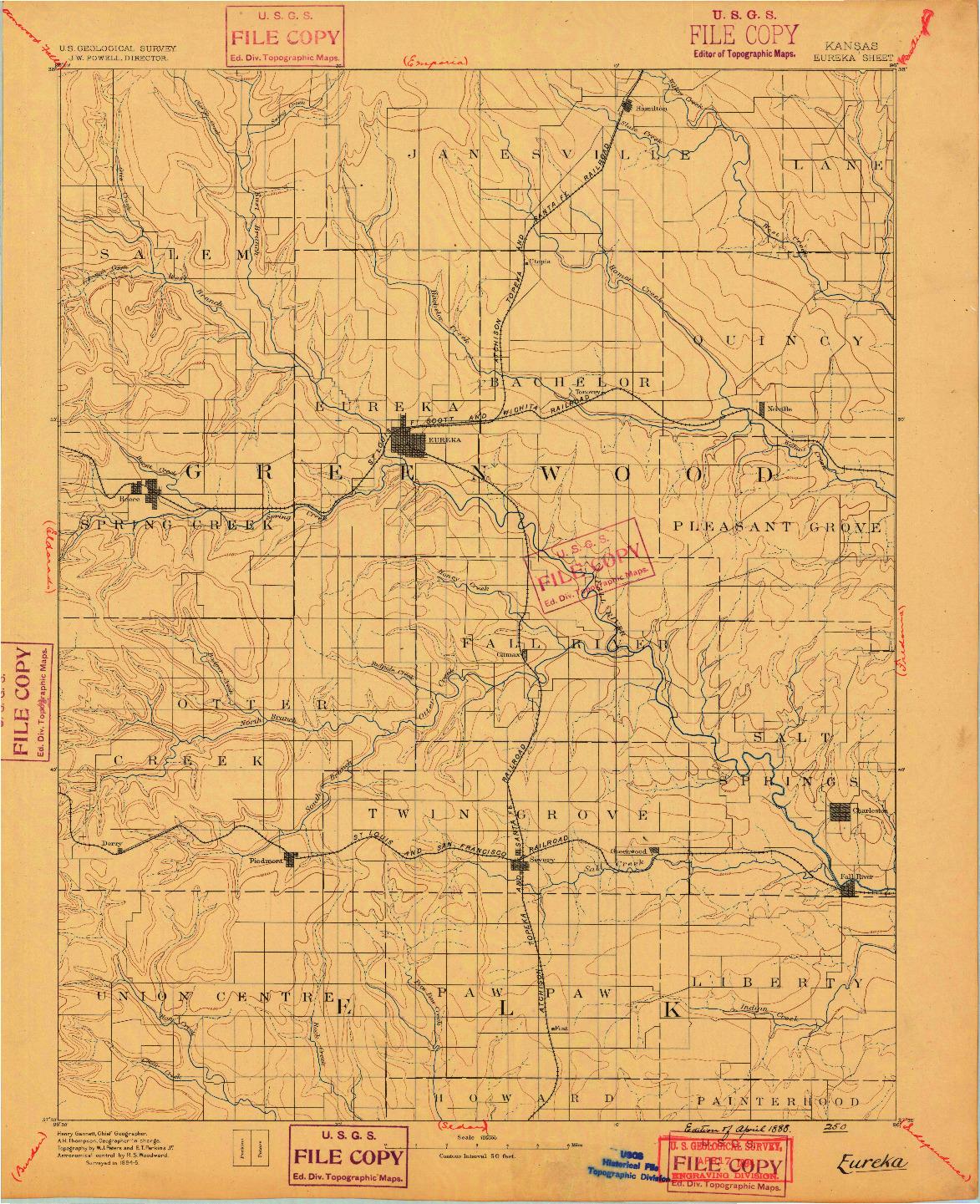 USGS 1:125000-SCALE QUADRANGLE FOR EUREKA, KS 1888
