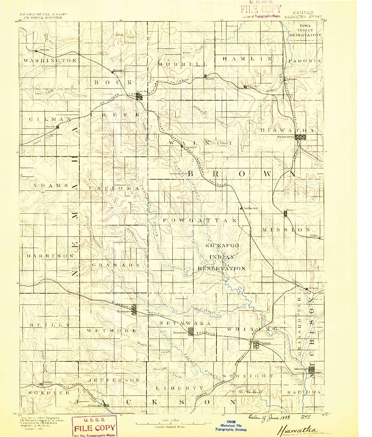 USGS 1:125000-SCALE QUADRANGLE FOR HIAWATHA, KS 1888