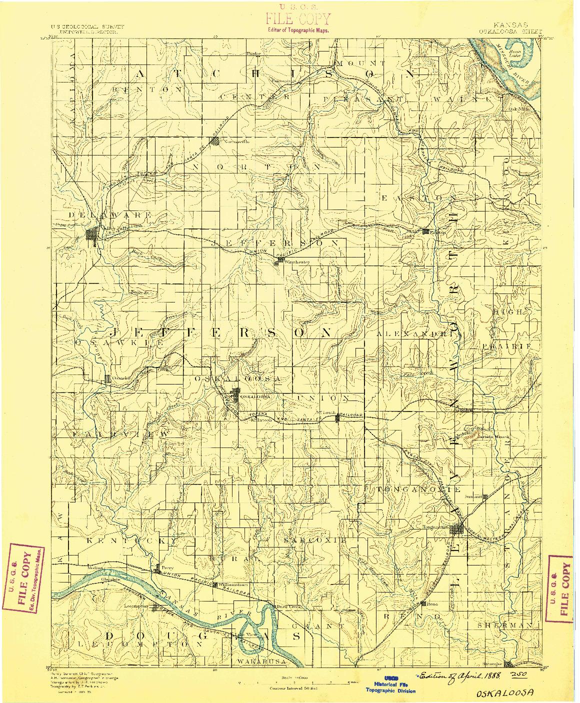 USGS 1:125000-SCALE QUADRANGLE FOR OSKALOOSA, KS 1888