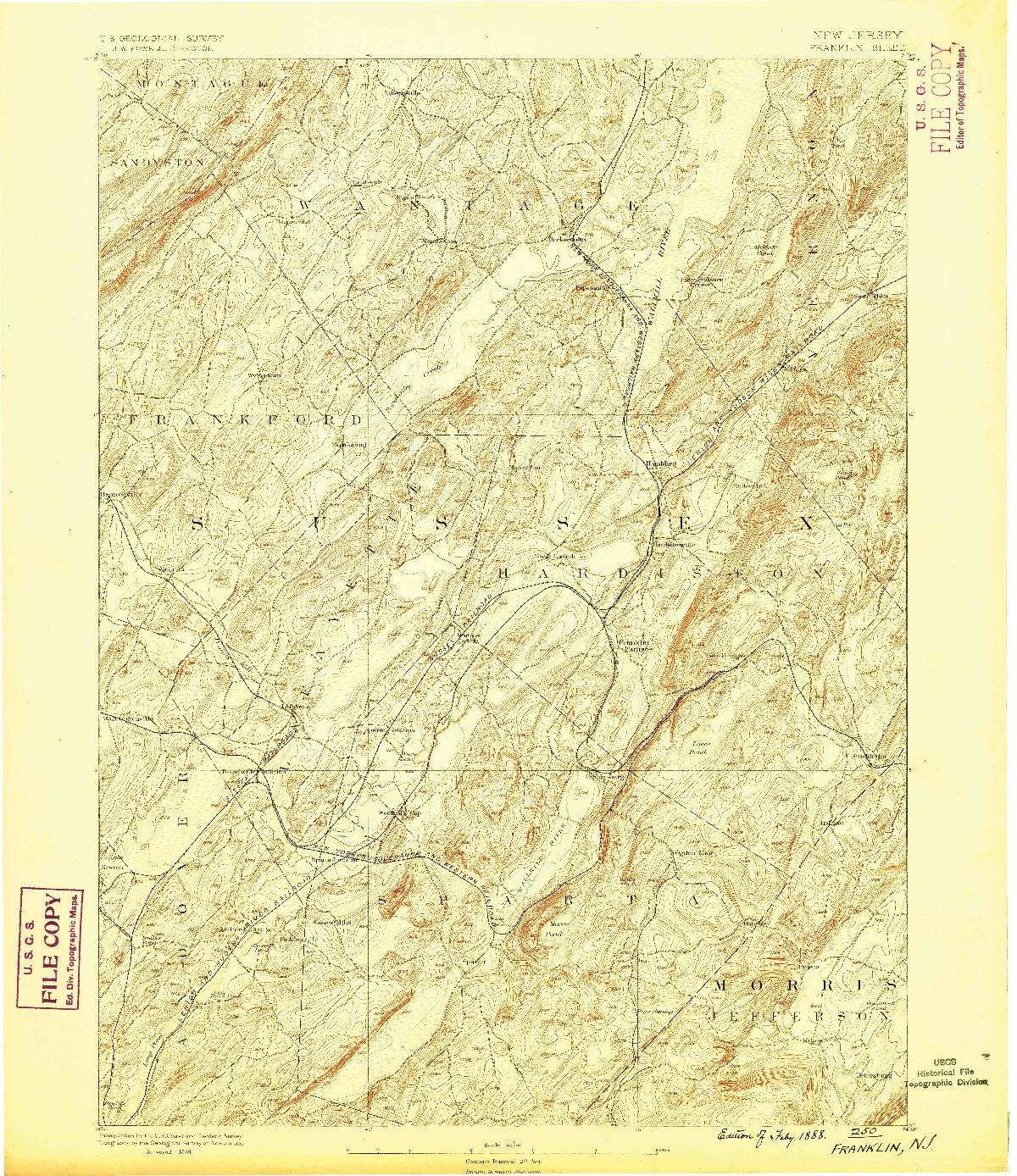 USGS 1:62500-SCALE QUADRANGLE FOR FRANKLIN, NJ 1888