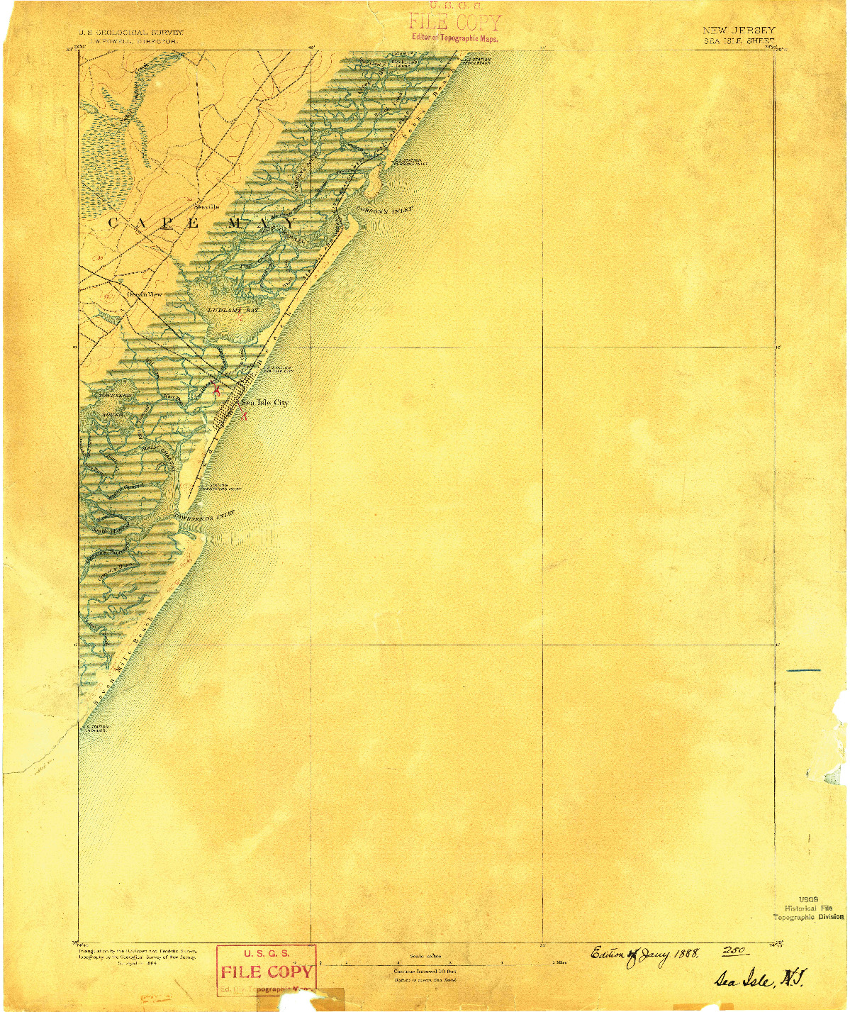 USGS 1:62500-SCALE QUADRANGLE FOR SEA ISLE, NJ 1888