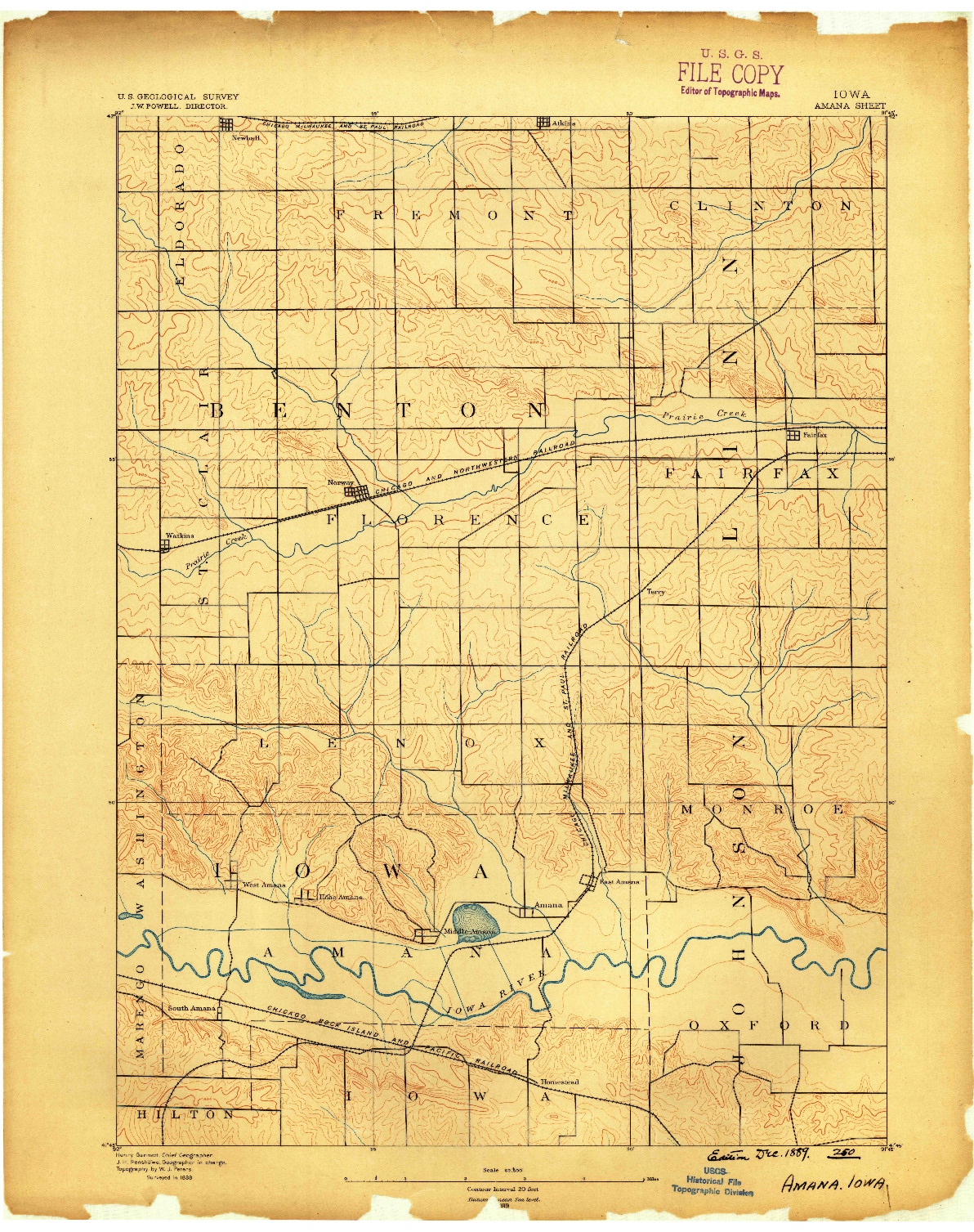 USGS 1:62500-SCALE QUADRANGLE FOR AMANA, IA 1889