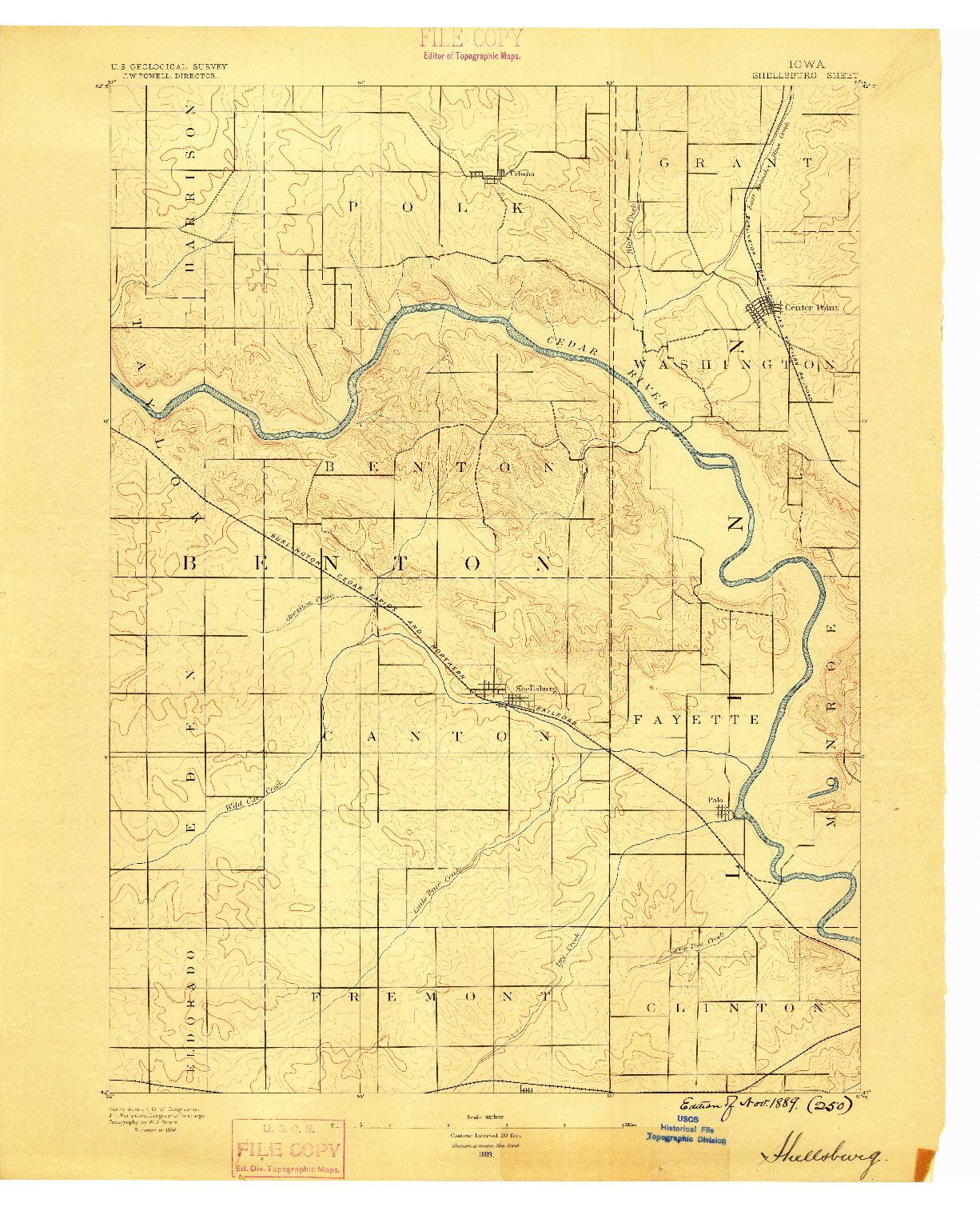 USGS 1:62500-SCALE QUADRANGLE FOR SHELLSBURG, IA 1889