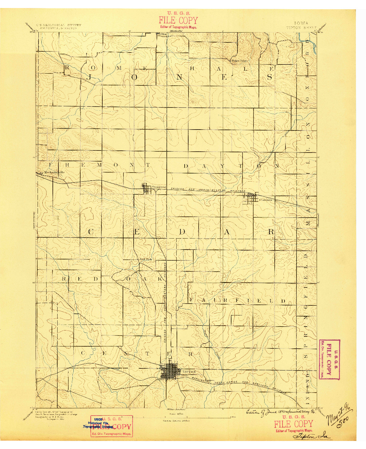 USGS 1:62500-SCALE QUADRANGLE FOR TIPTON, IA 1889