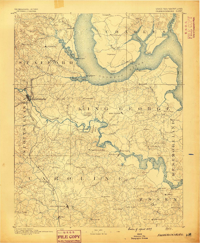 USGS 1:125000-SCALE QUADRANGLE FOR FREDERICKSBURG, VA 1889