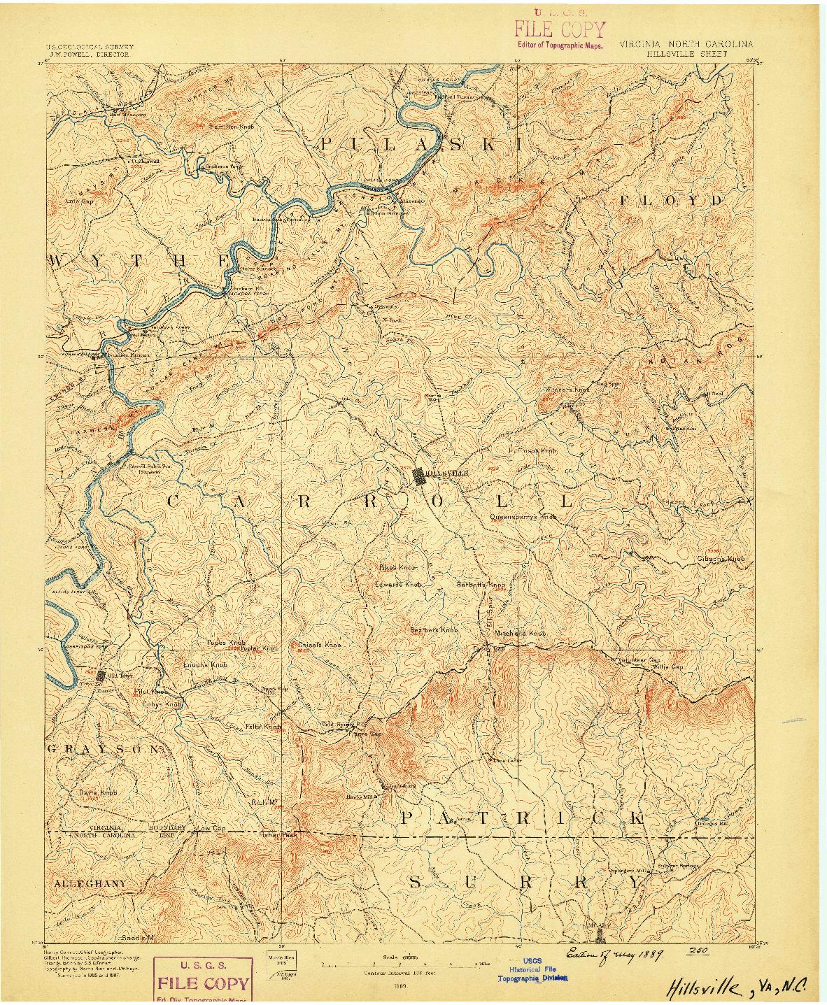 USGS 1:125000-SCALE QUADRANGLE FOR HILLSVILLE, VA 1889