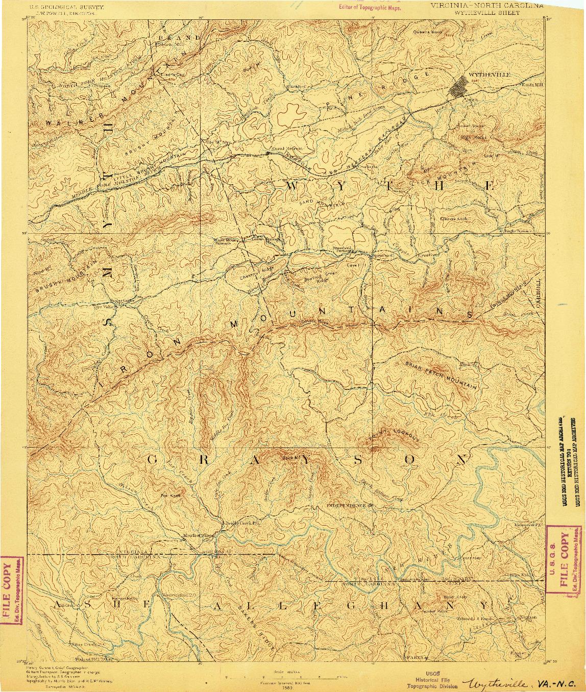 USGS 1:125000-SCALE QUADRANGLE FOR WYTHEVILLE, VA 1889