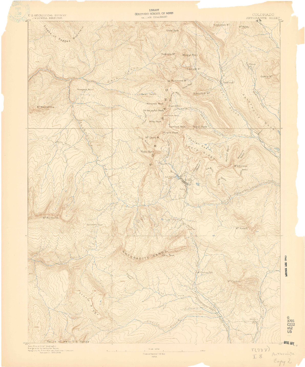 USGS 1:62500-SCALE QUADRANGLE FOR ANTHRACITE, CO 1889