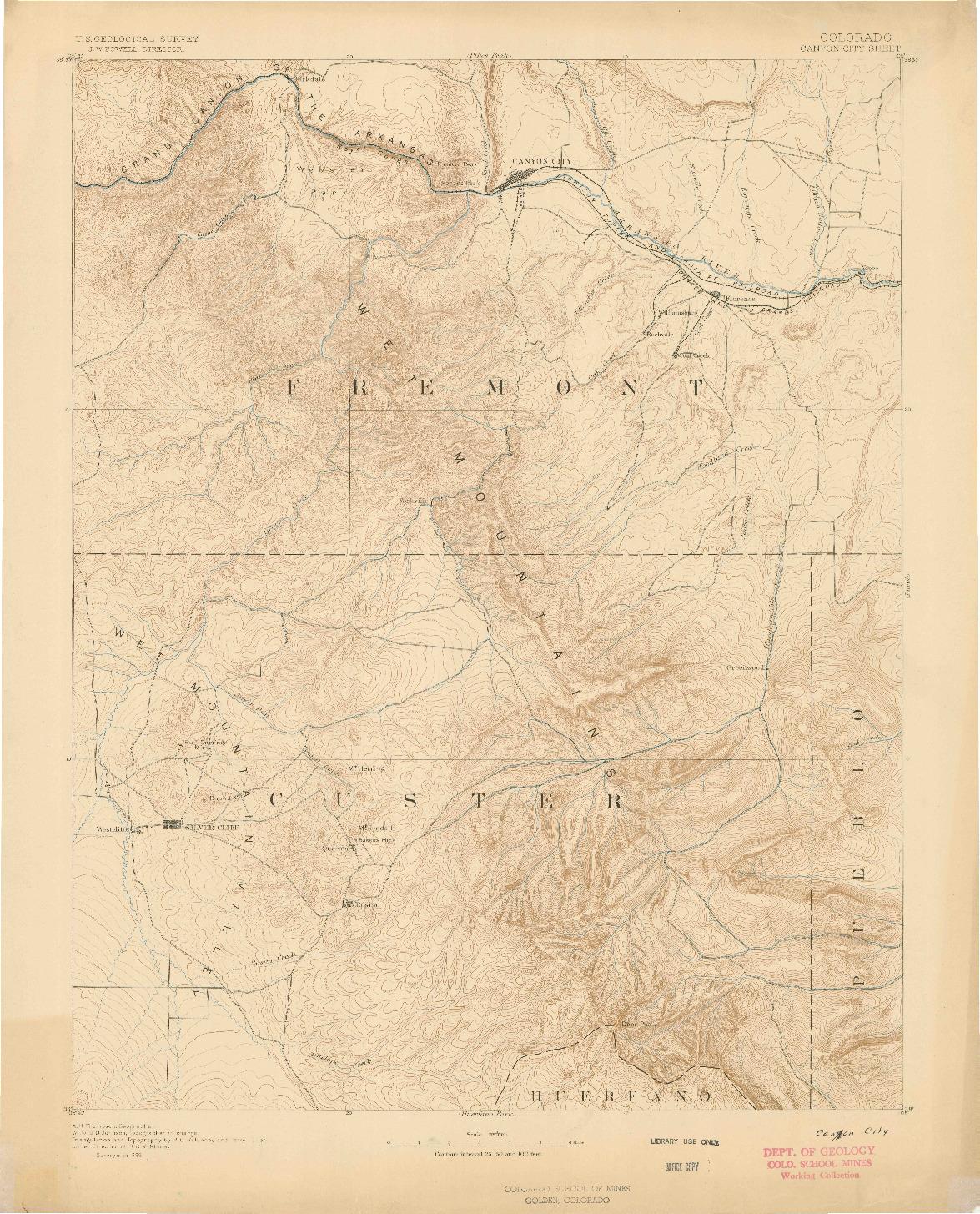 USGS 1:125000-SCALE QUADRANGLE FOR CANON CITY, CO 1889