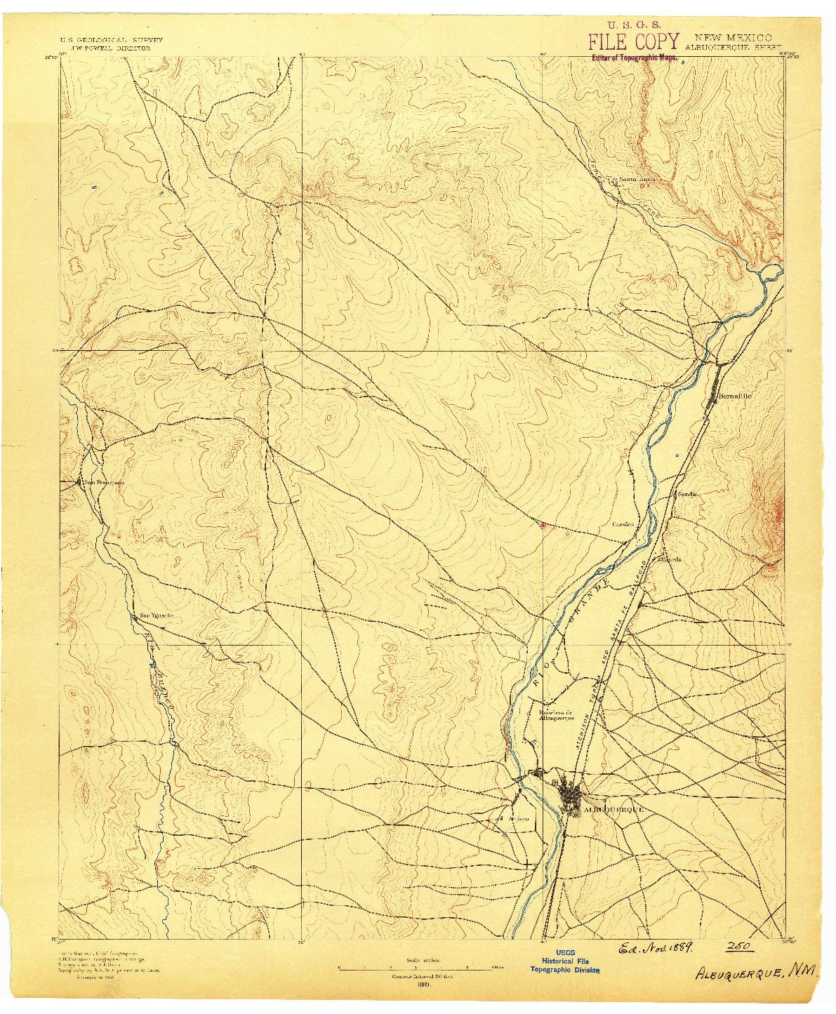 USGS 1:125000-SCALE QUADRANGLE FOR ALBUQUERQUE, NM 1889