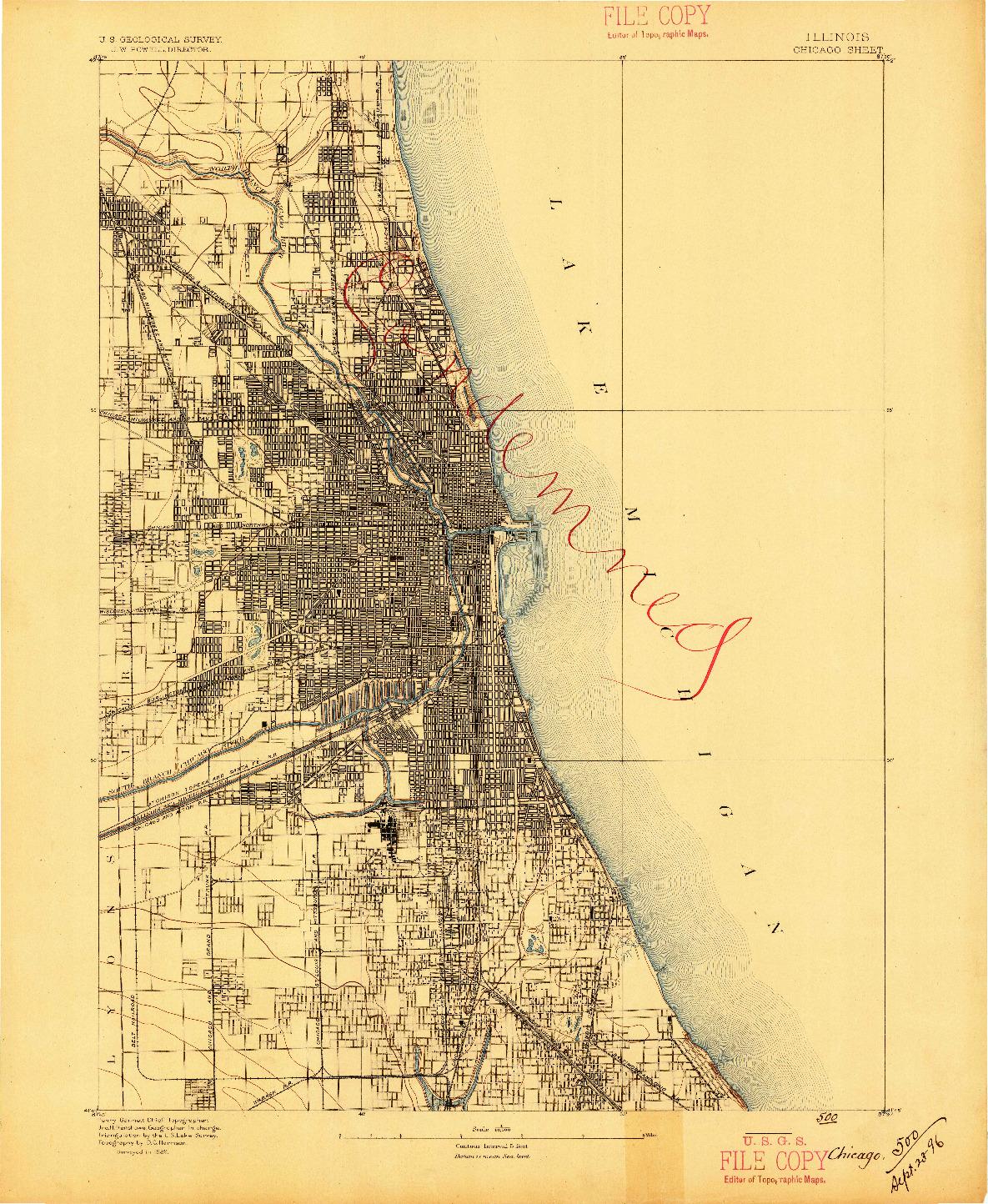 USGS 1:62500-SCALE QUADRANGLE FOR CHICAGO, IL 1889