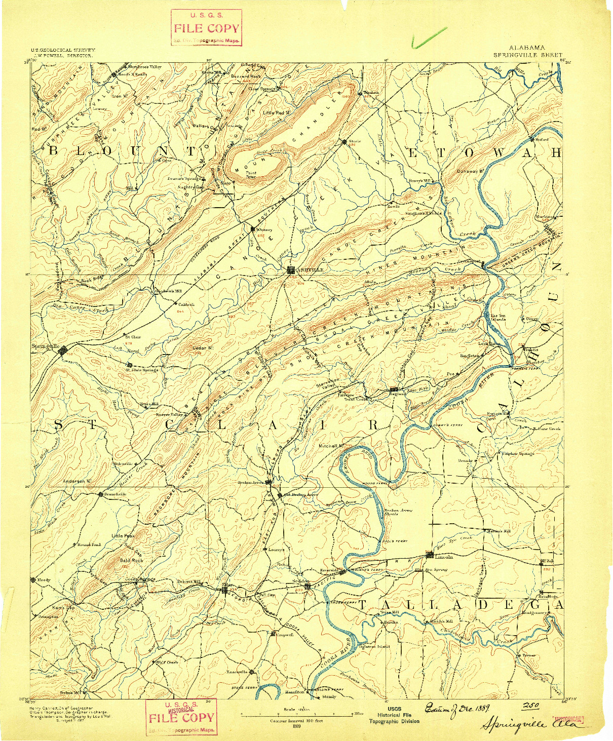 USGS 1:125000-SCALE QUADRANGLE FOR SPRINGVILLE, AL 1889