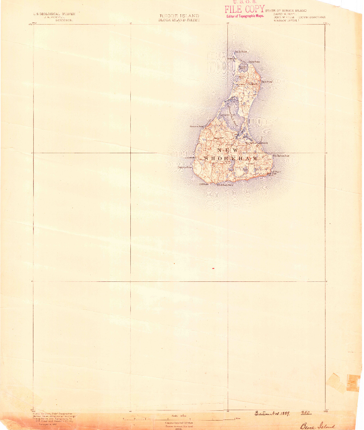 USGS 1:62500-SCALE QUADRANGLE FOR BLOCK ISLAND, RI 1889