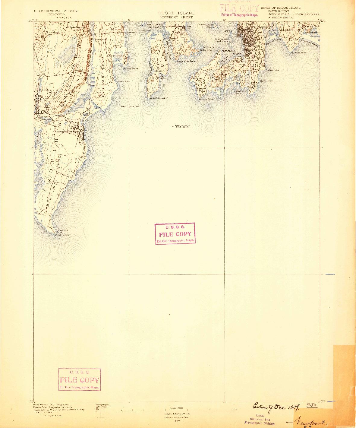 USGS 1:62500-SCALE QUADRANGLE FOR NEWPORT, RI 1889