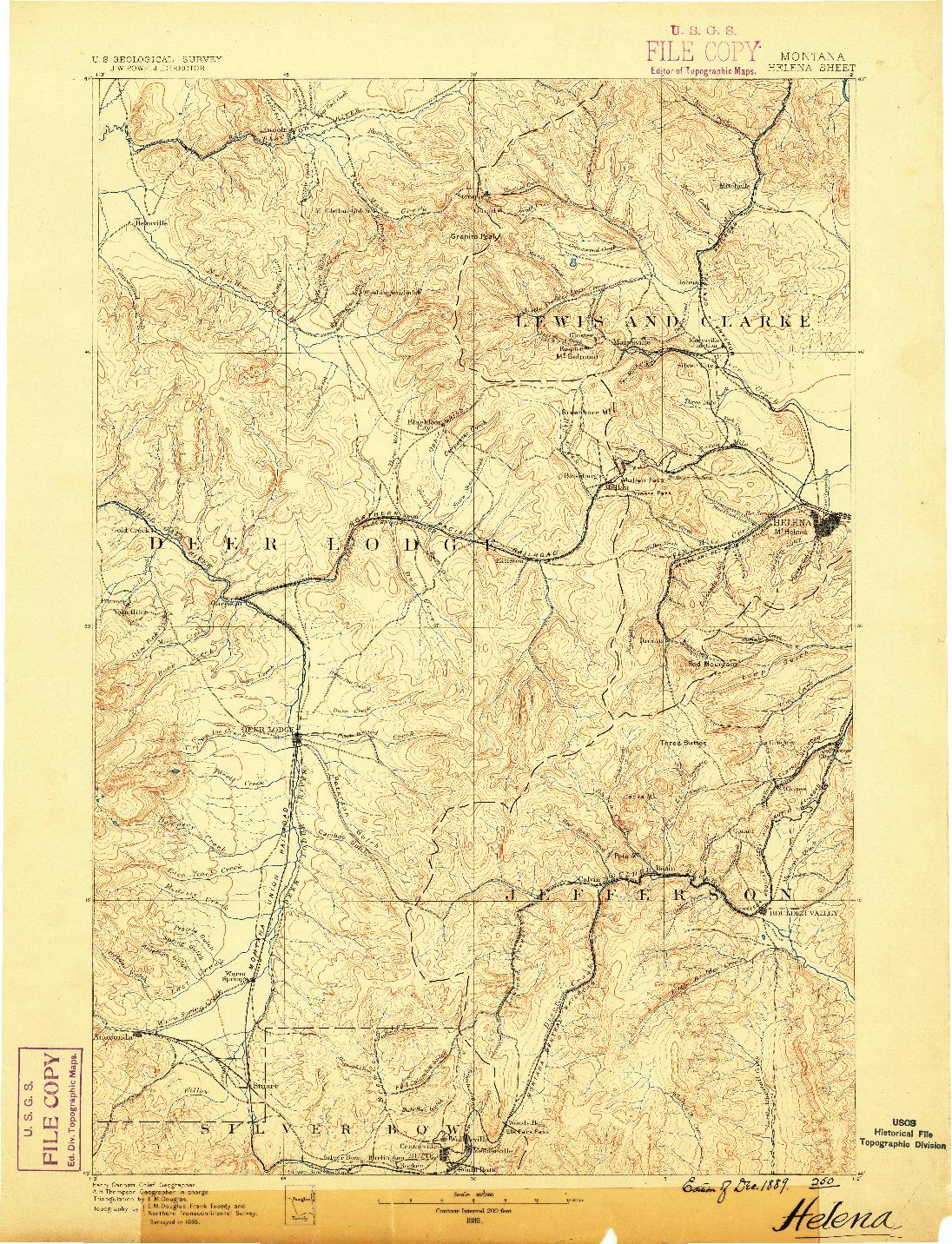 USGS 1:250000-SCALE QUADRANGLE FOR HELENA, MT 1889