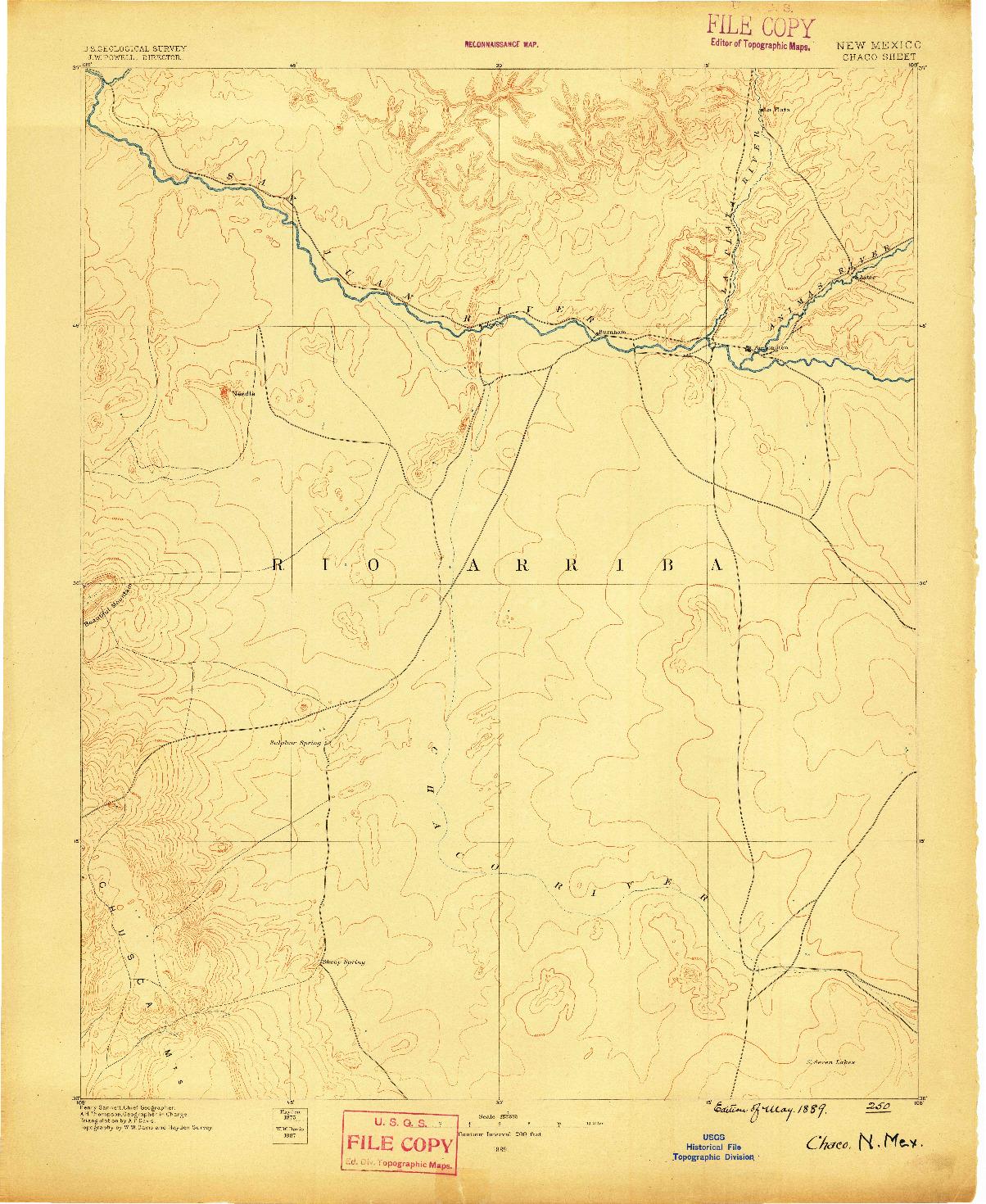 USGS 1:250000-SCALE QUADRANGLE FOR CHACO, NM 1889