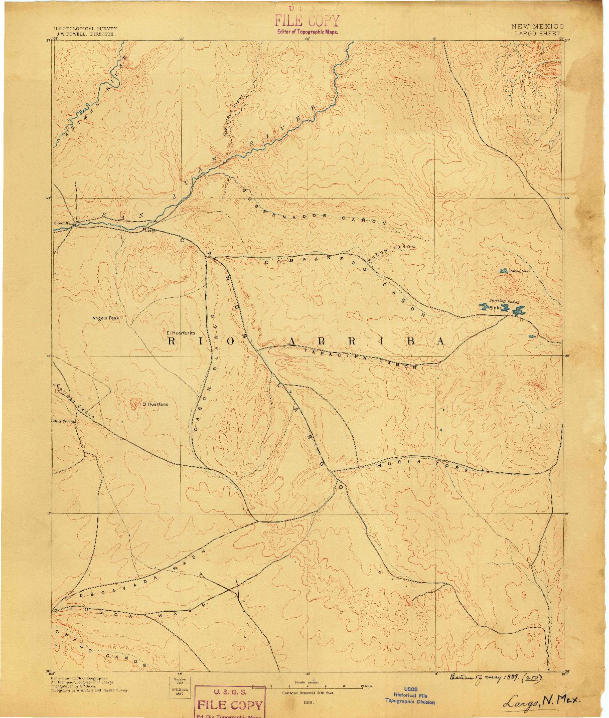 USGS 1:250000-SCALE QUADRANGLE FOR LARGO, NM 1889