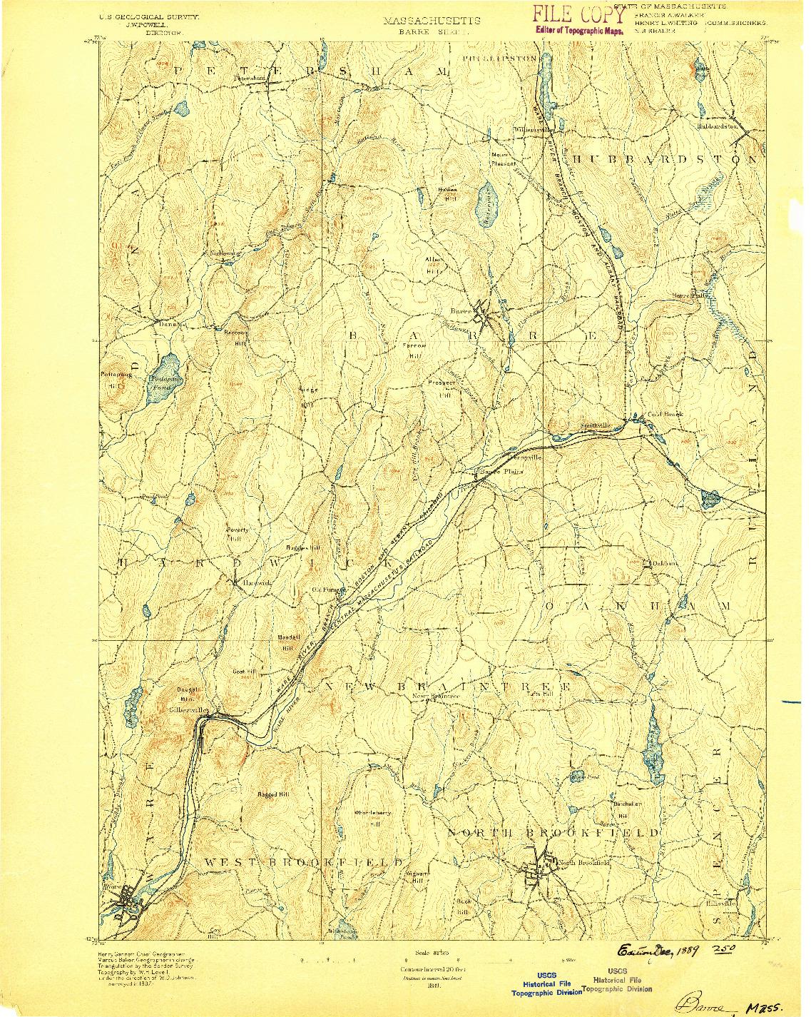 USGS 1:62500-SCALE QUADRANGLE FOR BARRE, MA 1889