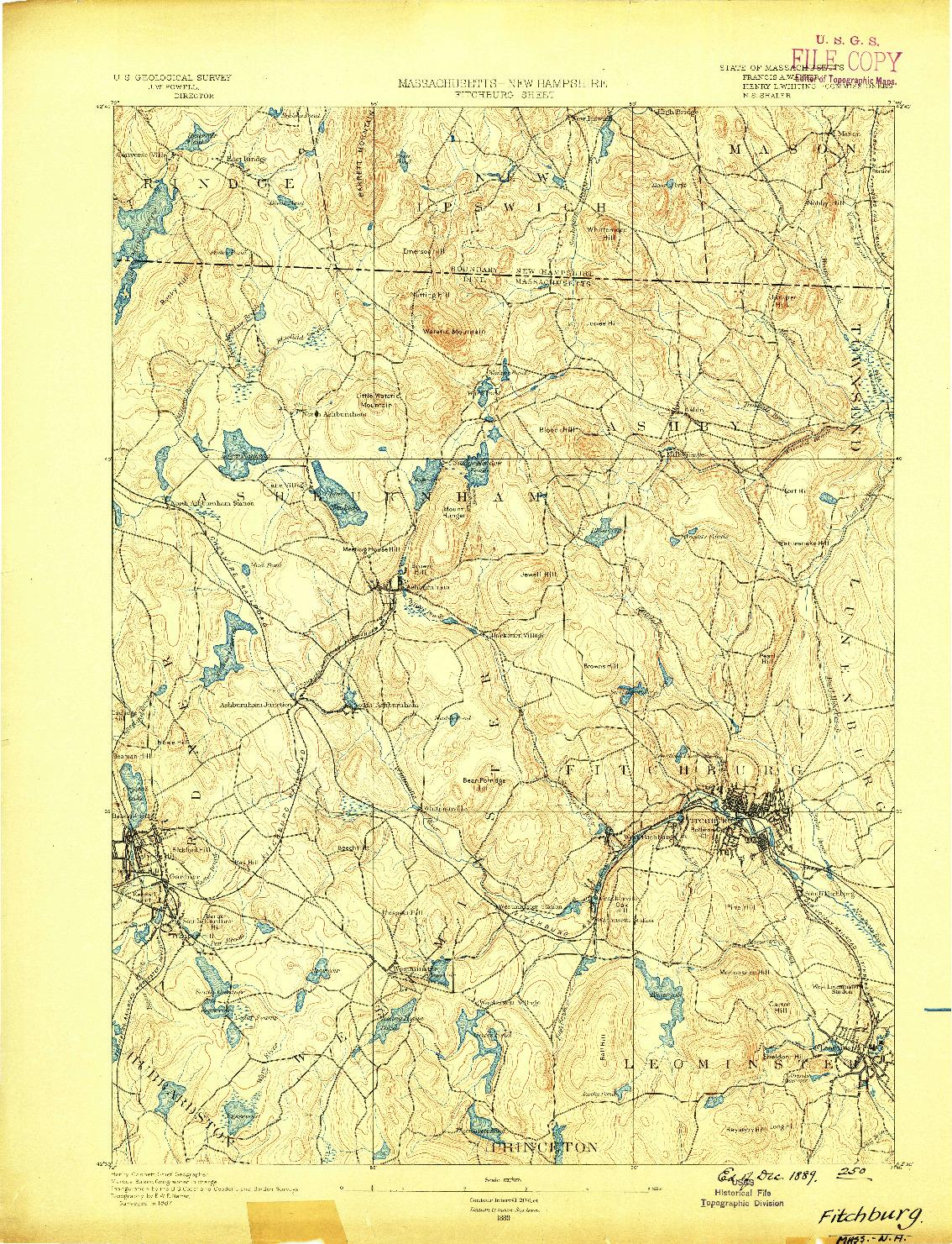USGS 1:62500-SCALE QUADRANGLE FOR FITCHBURG, MA 1889