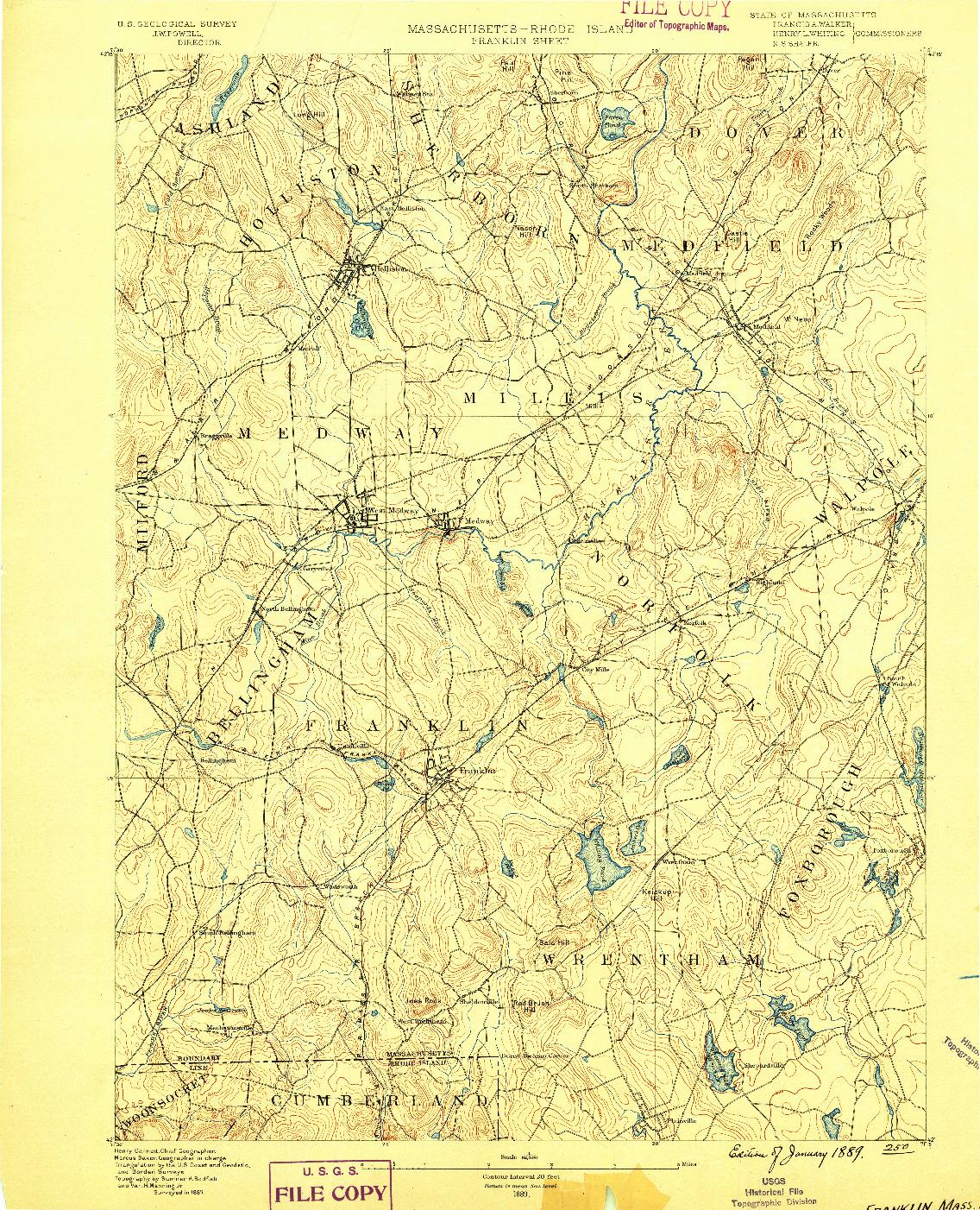 USGS 1:62500-SCALE QUADRANGLE FOR FRANKLIN, MA 1889