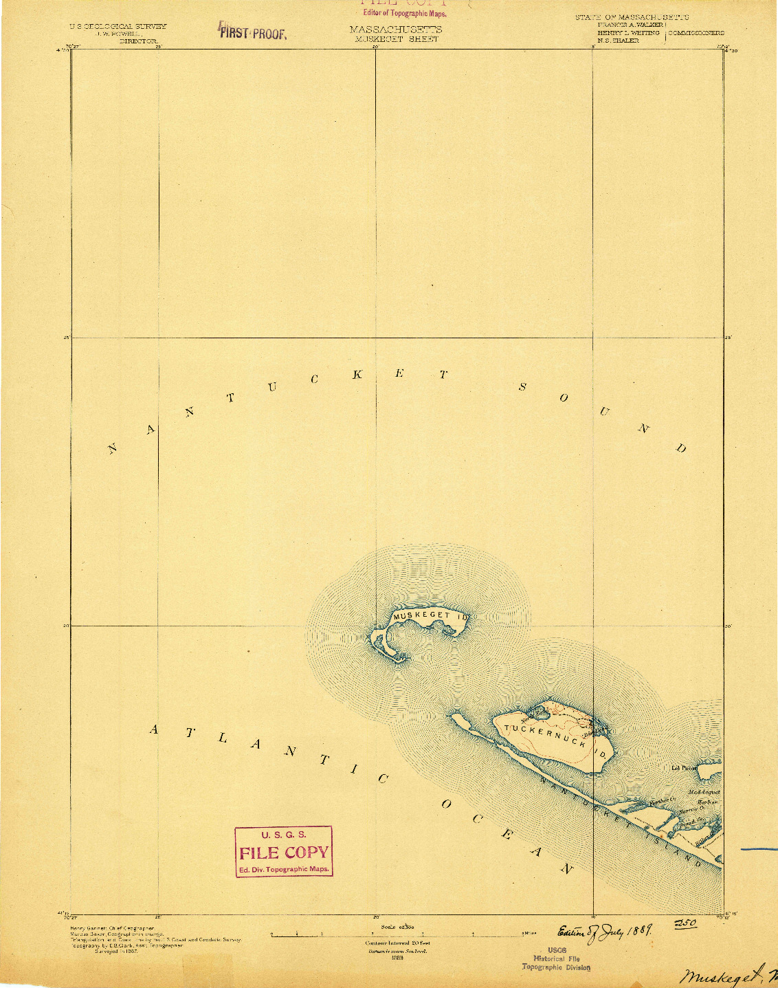 USGS 1:62500-SCALE QUADRANGLE FOR MUSKEGET, MA 1889