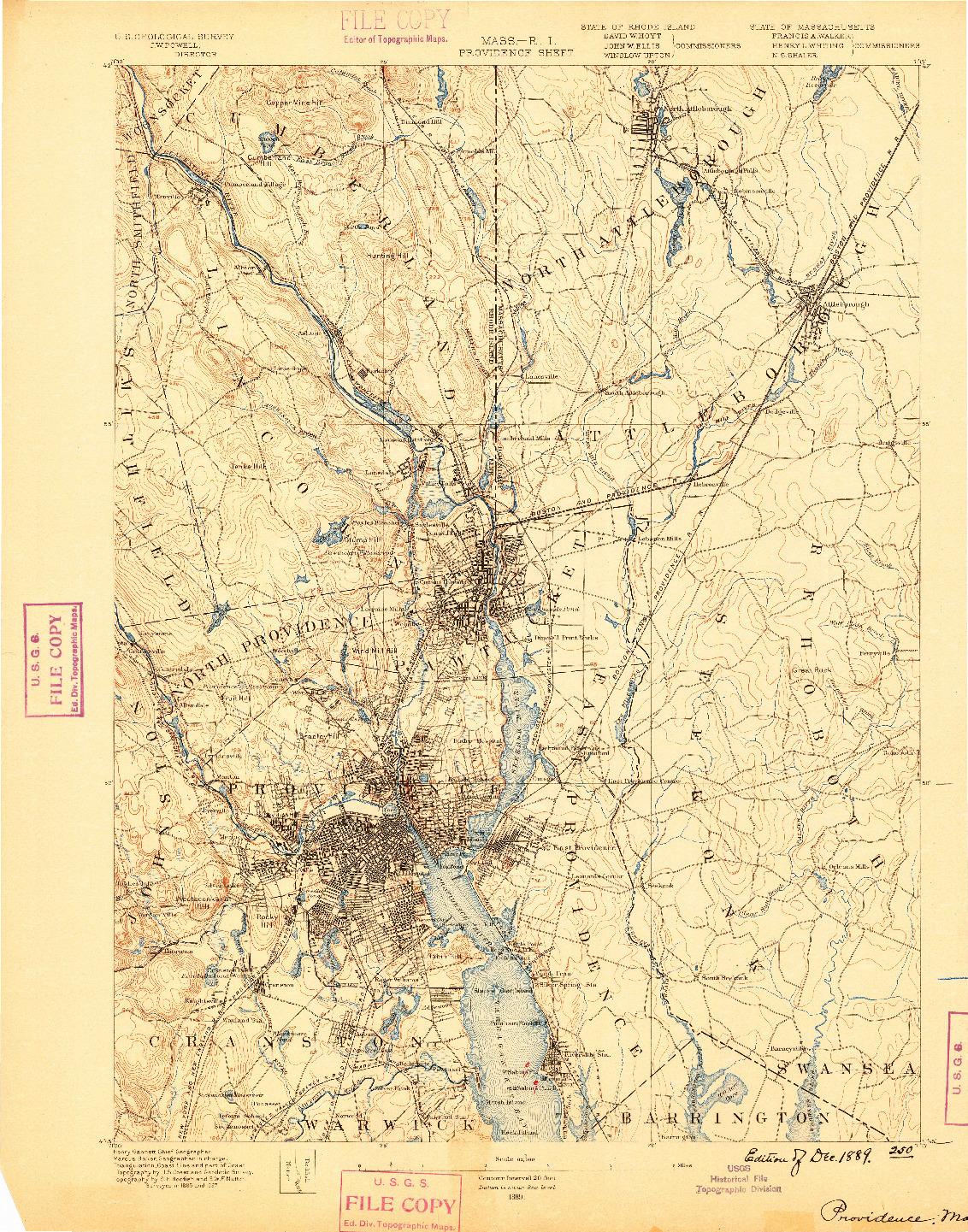 USGS 1:62500-SCALE QUADRANGLE FOR PROVIDENCE, MA 1889