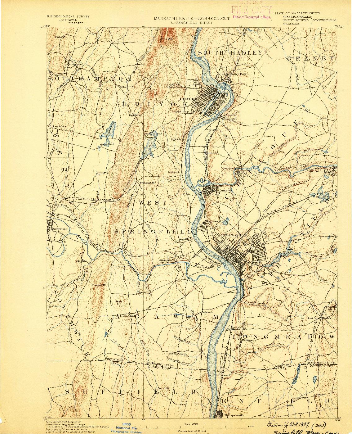 USGS 1:62500-SCALE QUADRANGLE FOR SPRINGFIELD, MA 1889