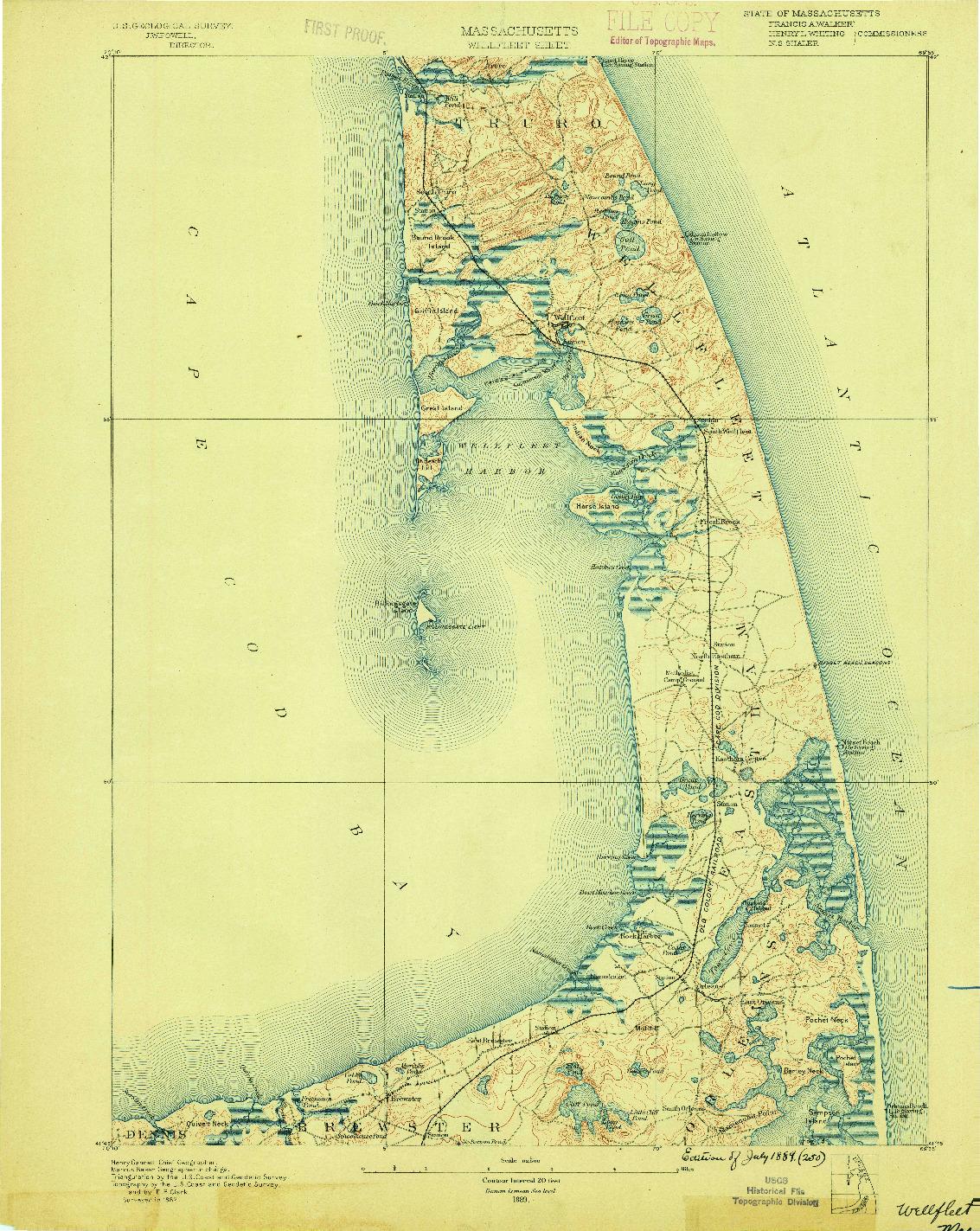 USGS 1:62500-SCALE QUADRANGLE FOR WELLFLEET, MA 1889